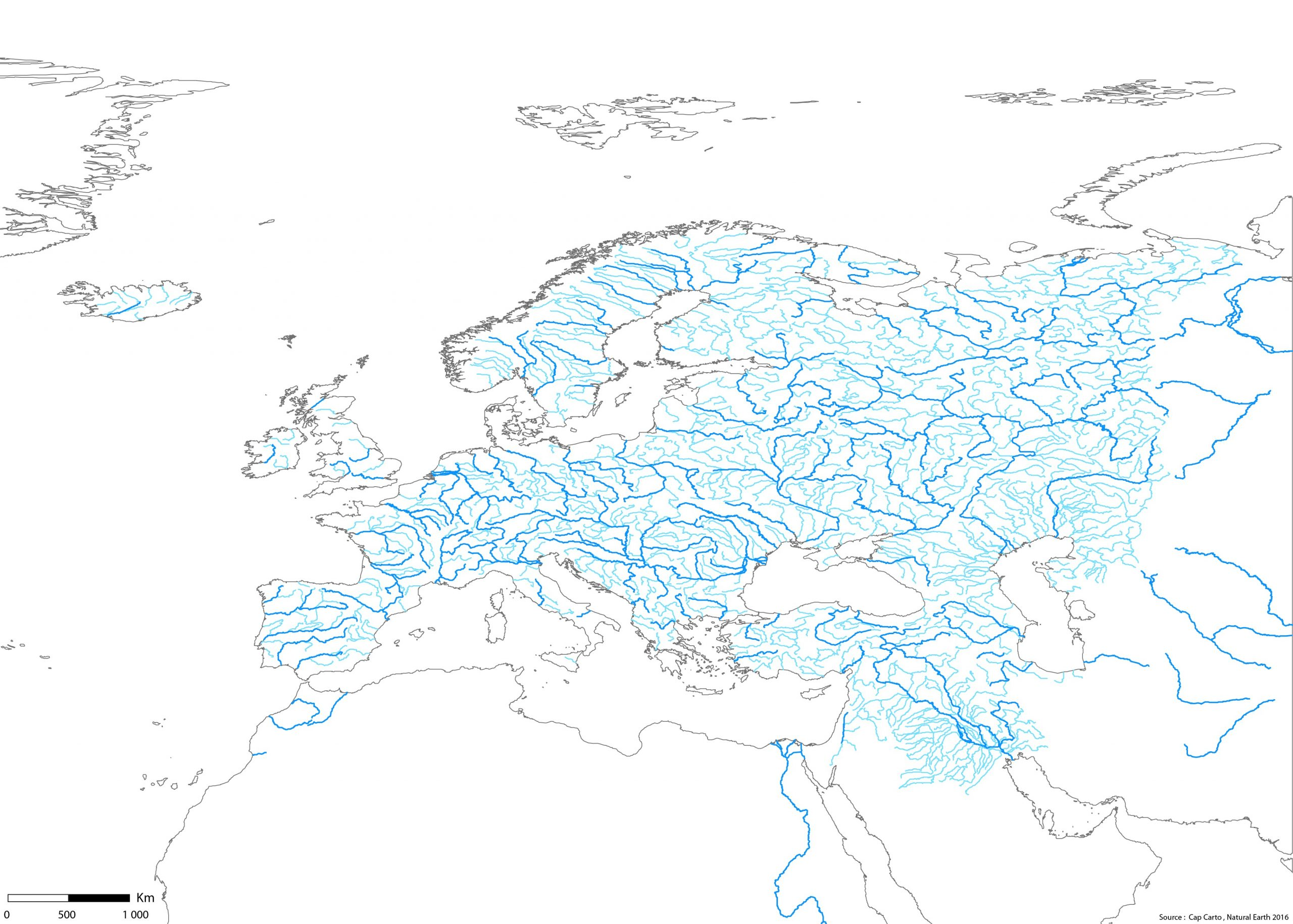 Europe-Fleuves-Rivieres-Echelle-Wgs84-Couleur-Vierge - Cap Carto encequiconcerne Carte Fleuve Europe Vierge