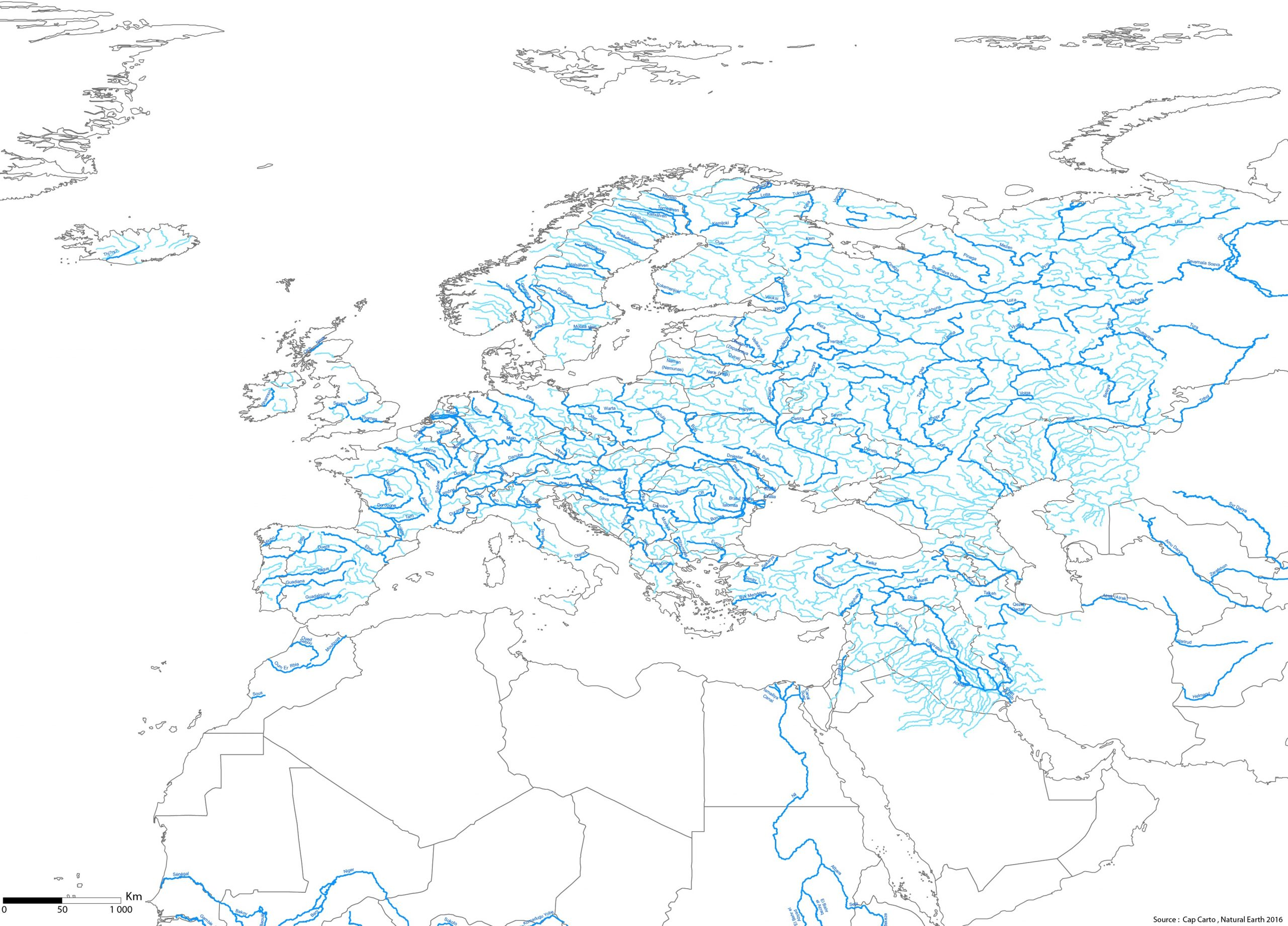 Europe-Pays-Fleuves-Noms-Rivieres-Echelle-Wgs84-Vierge - Cap intérieur Carte Fleuve Europe Vierge