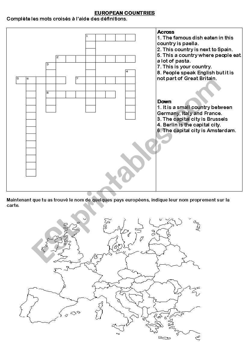 European Countries - Esl Worksheet By Sandlo avec Mot Croisé Aide