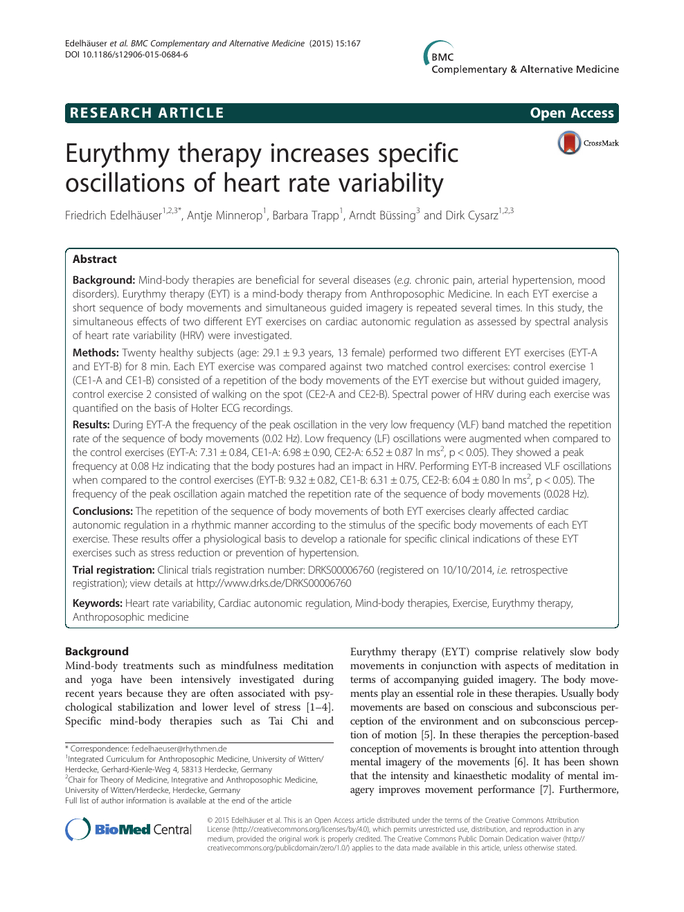 Eurythmy Therapy Increases Specific Oscillations Of Heart avec Reproduction De Figures Ce1