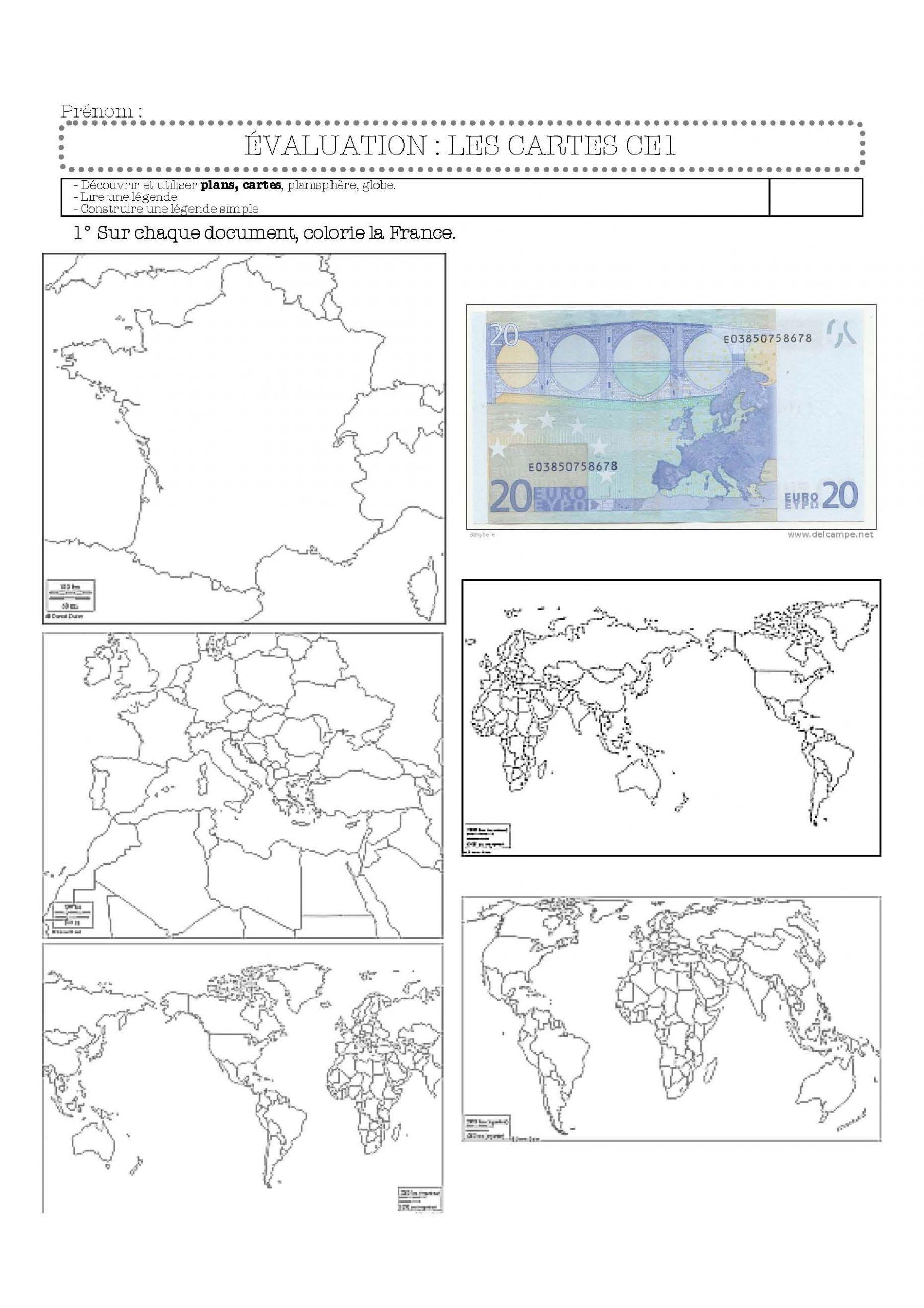 Évaluation Cartes Et Légendes-Ce1   Ce1, Cartes Et Géographie tout Carte De France Ce1