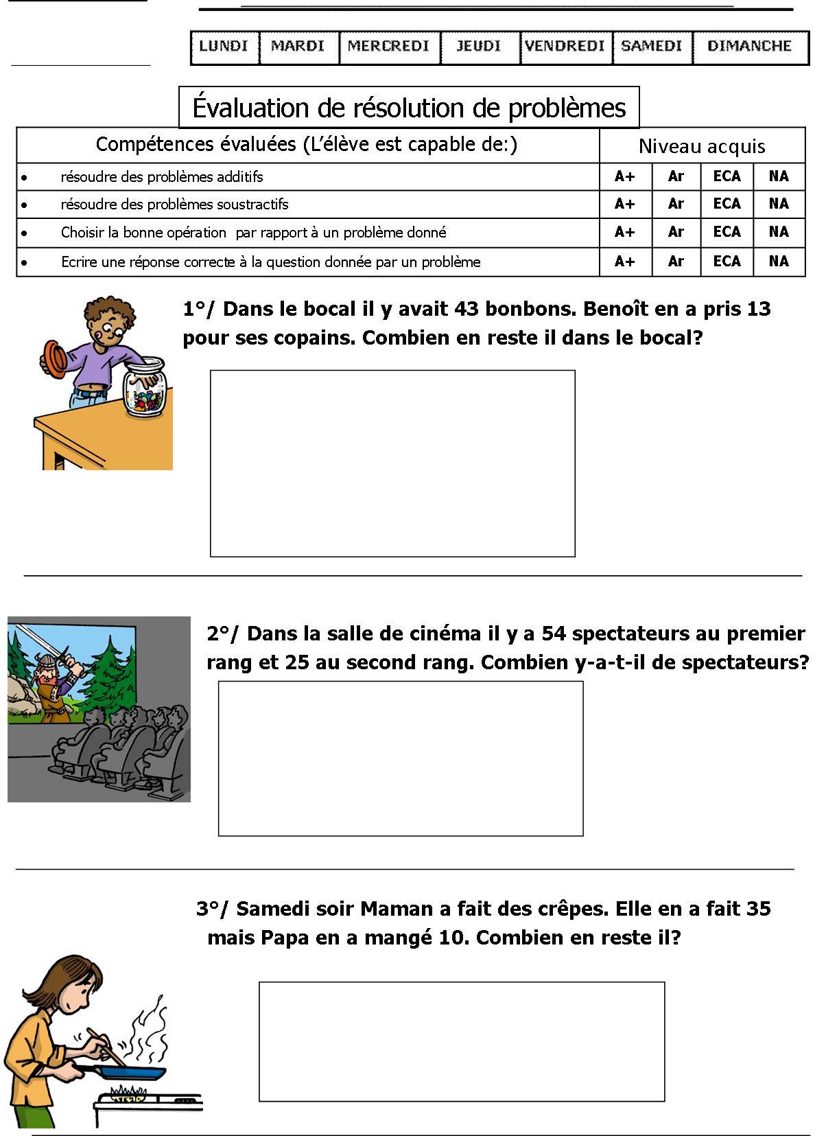 Évaluation Problèmes Ce1   Le Blog De Monsieur Mathieu à Exercice Problème Ce1