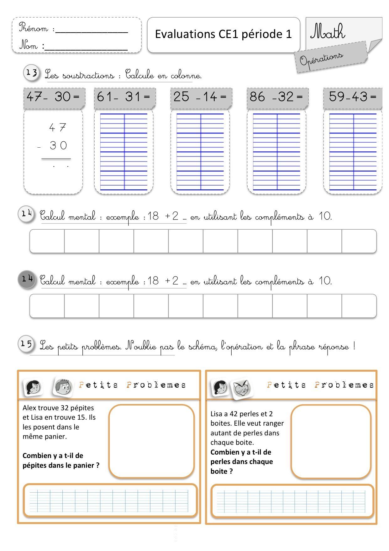 Evaluations Ce1 1Er Semestre | Evaluation Ce1, Ce1 serapportantà Exercice Problème Ce1