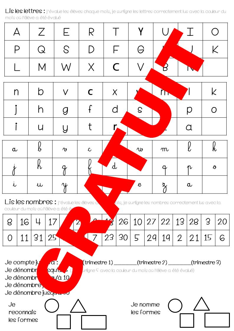 Evaluations Gs - Ecriture, Lecture, Mathématiques Grande à Écriture Chiffres Gs