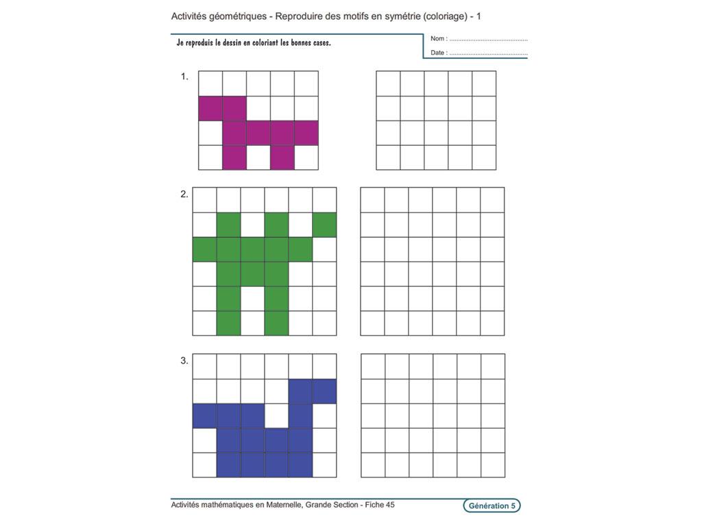 Evolu Fiches - Activités Mathématiques En Grande Section avec Reproduire Un Dessin Sur Quadrillage Cp