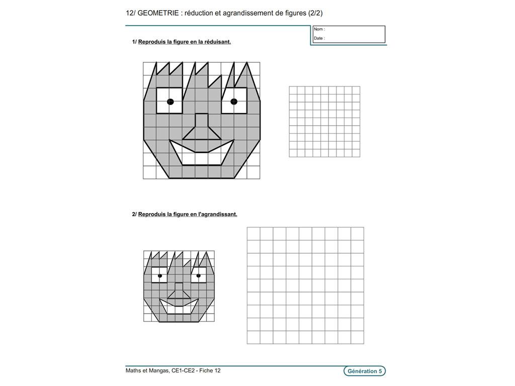 Evolu Fiches - Maths Et Manga (Ce1-Ce2) à Reproduction Sur Quadrillage Cm1 A Imprimer