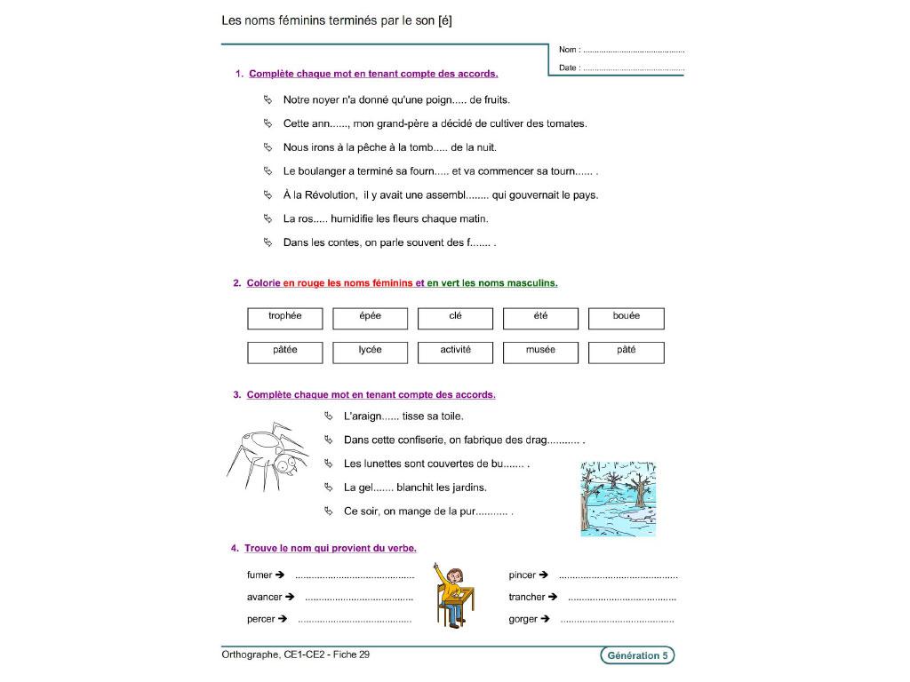 Evolu Fiches - Orthographe (Ce1-Ce2) à Travaille Ce2 A Imprimer