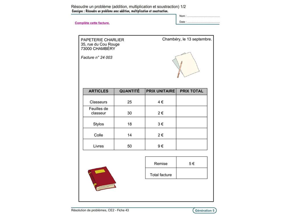 Evolu Fiches - Résolution De Problèmes Au Ce2 pour Travaille Ce2 A Imprimer