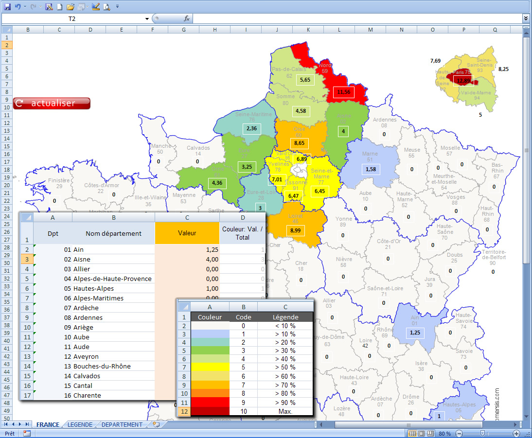 Excel Des Régions Et Départements De France Avec Coloration Selon Données pour Carte De France Par Régions Et Départements
