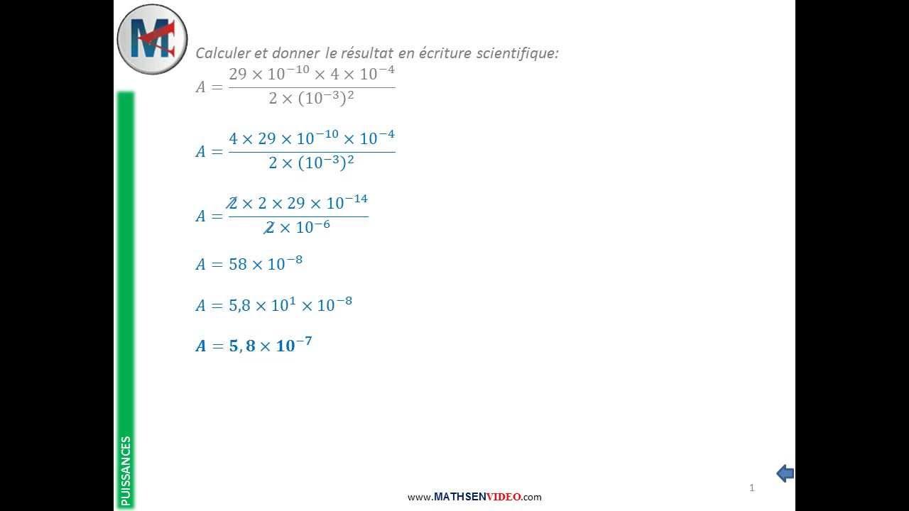 Exercice: Calcul Avec Lois De Puissance Et Notation Scientifique destiné Exercice De Math Sur Les Puissances