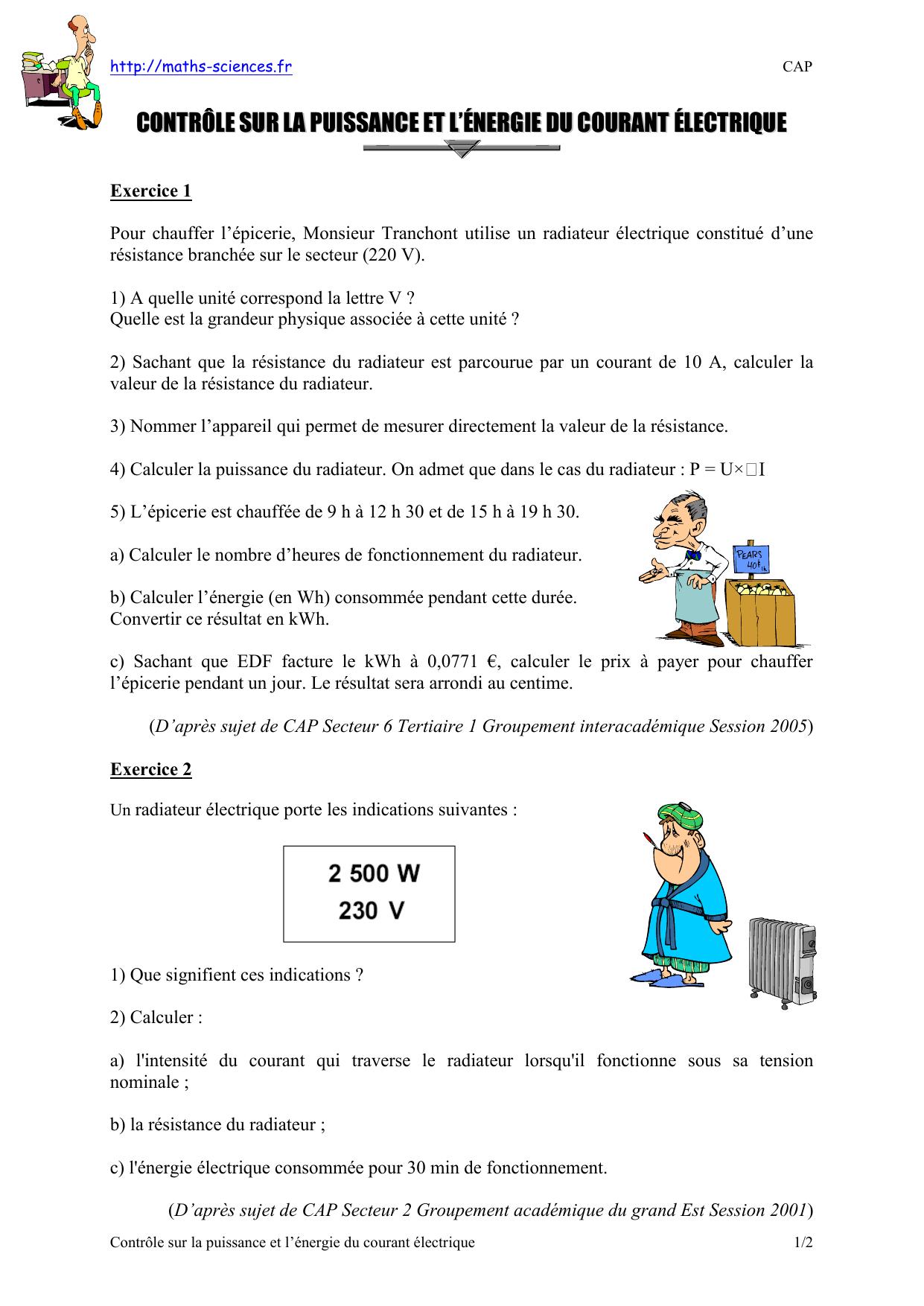 Exercice N°1 : Calcul Numérique (Plan De Charges) - Maths dedans Exercice De Math Sur Les Puissances