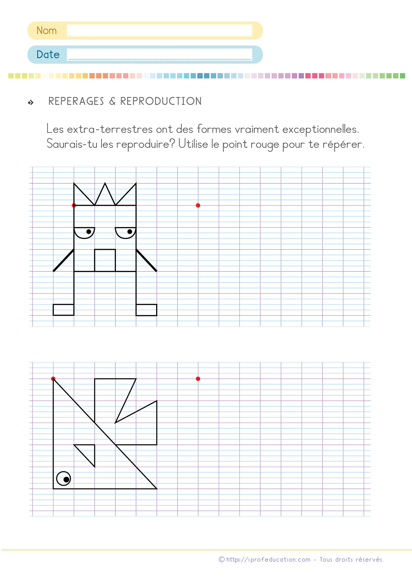 Exercices De Math Cp Ce1 | Pdf Fiches De Mathématiques Cp Ce1 destiné Évaluation Reproduction Sur Quadrillage Ce1
