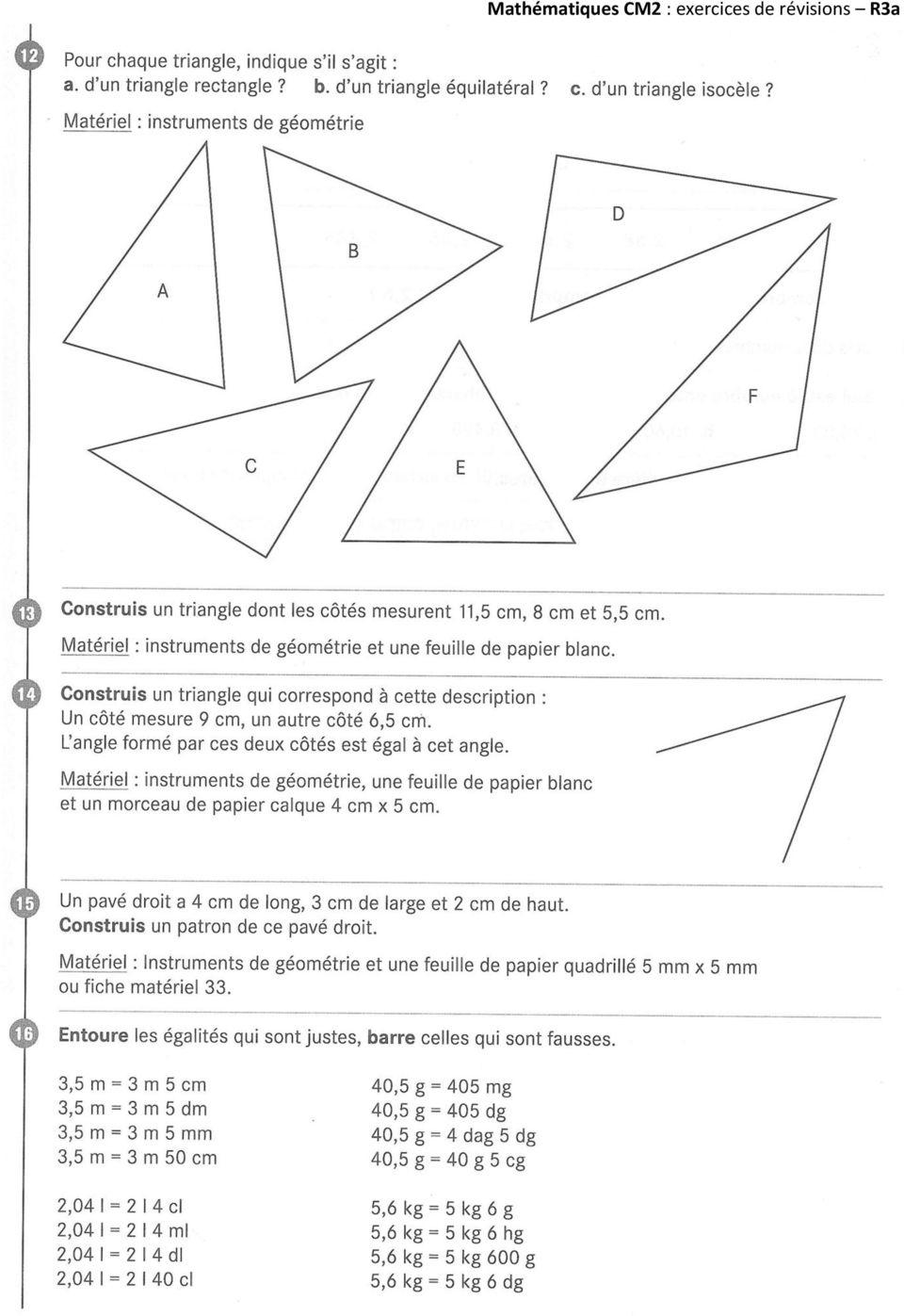 Exercices De Revisions Mathematiques Cm2 - Pdf à Exercice Gratuit Cm2