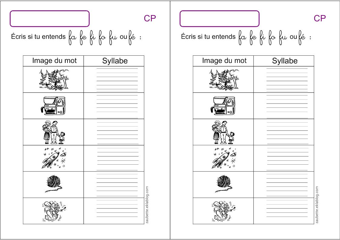 Exercices D'écriture Cp Écrire Les Syllabes - Zaubette à Travaille De Cp A Imprimer