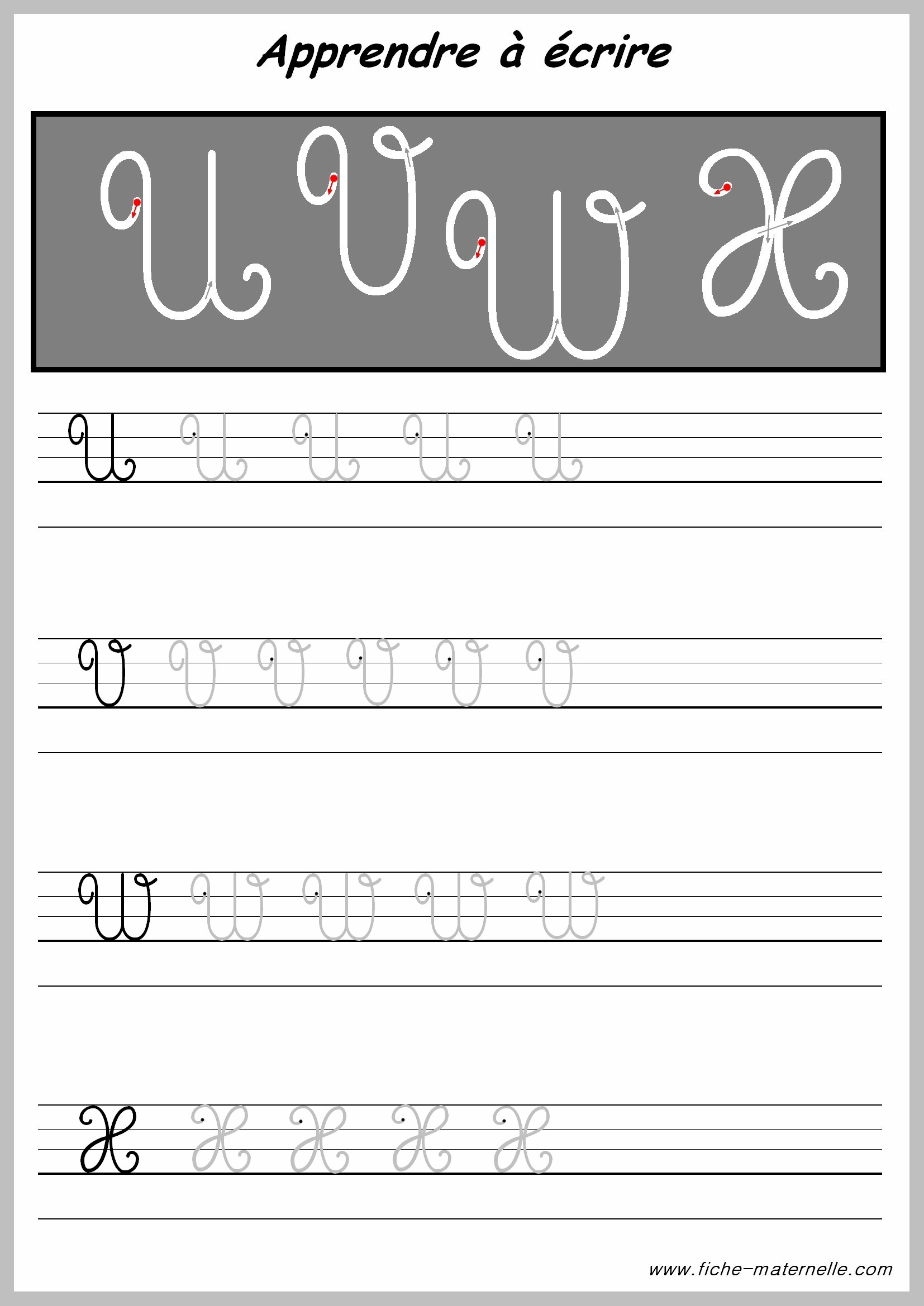 Exercices D'écriture Pour Cp Et Maternelle : Les Lettres tout Ecriture En Majuscule