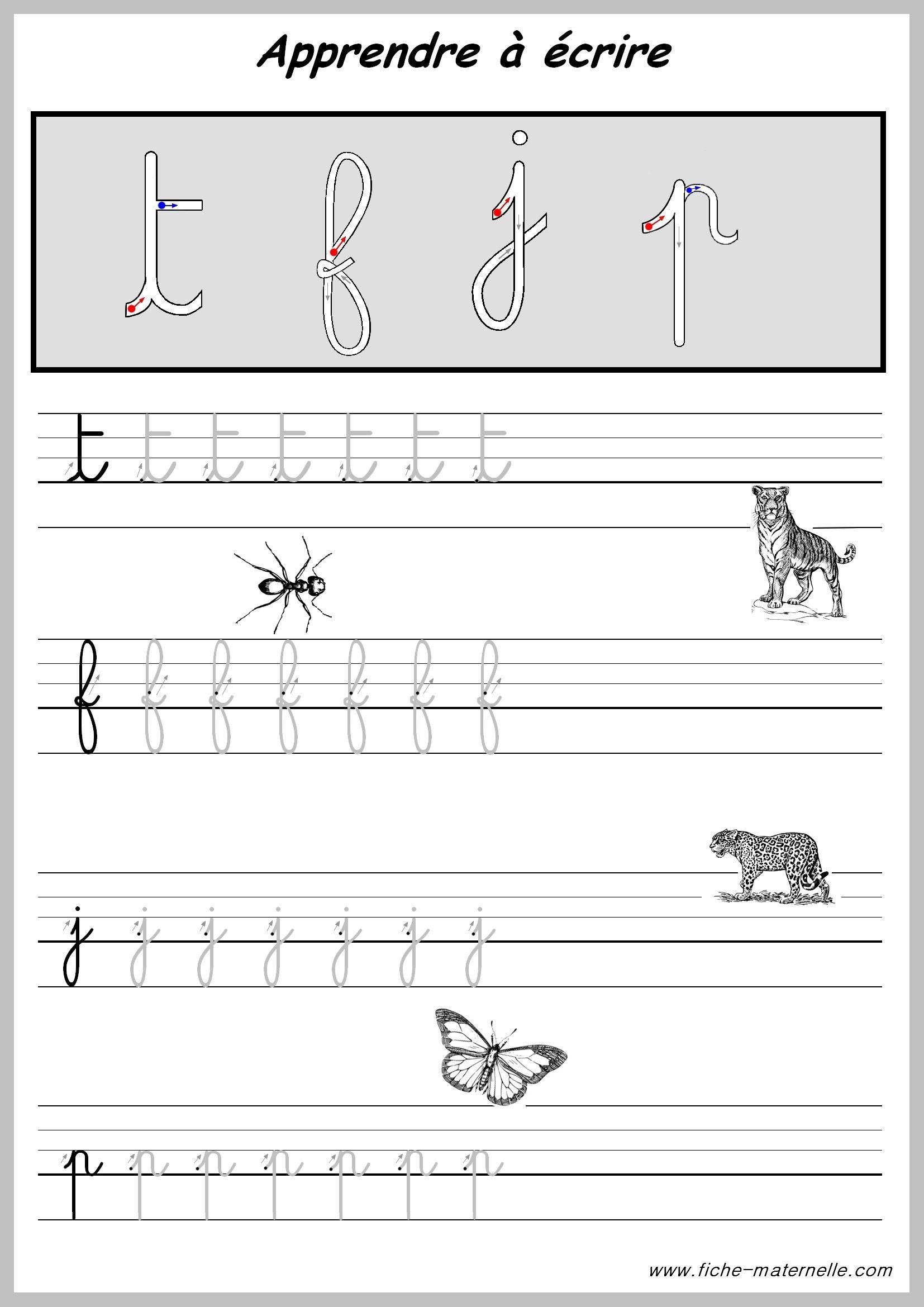 Exercices Pour Apprendre A Ecrire Les Lettres.   Écrire En pour Fiche D Ecriture Pour Maternelle A Imprimer