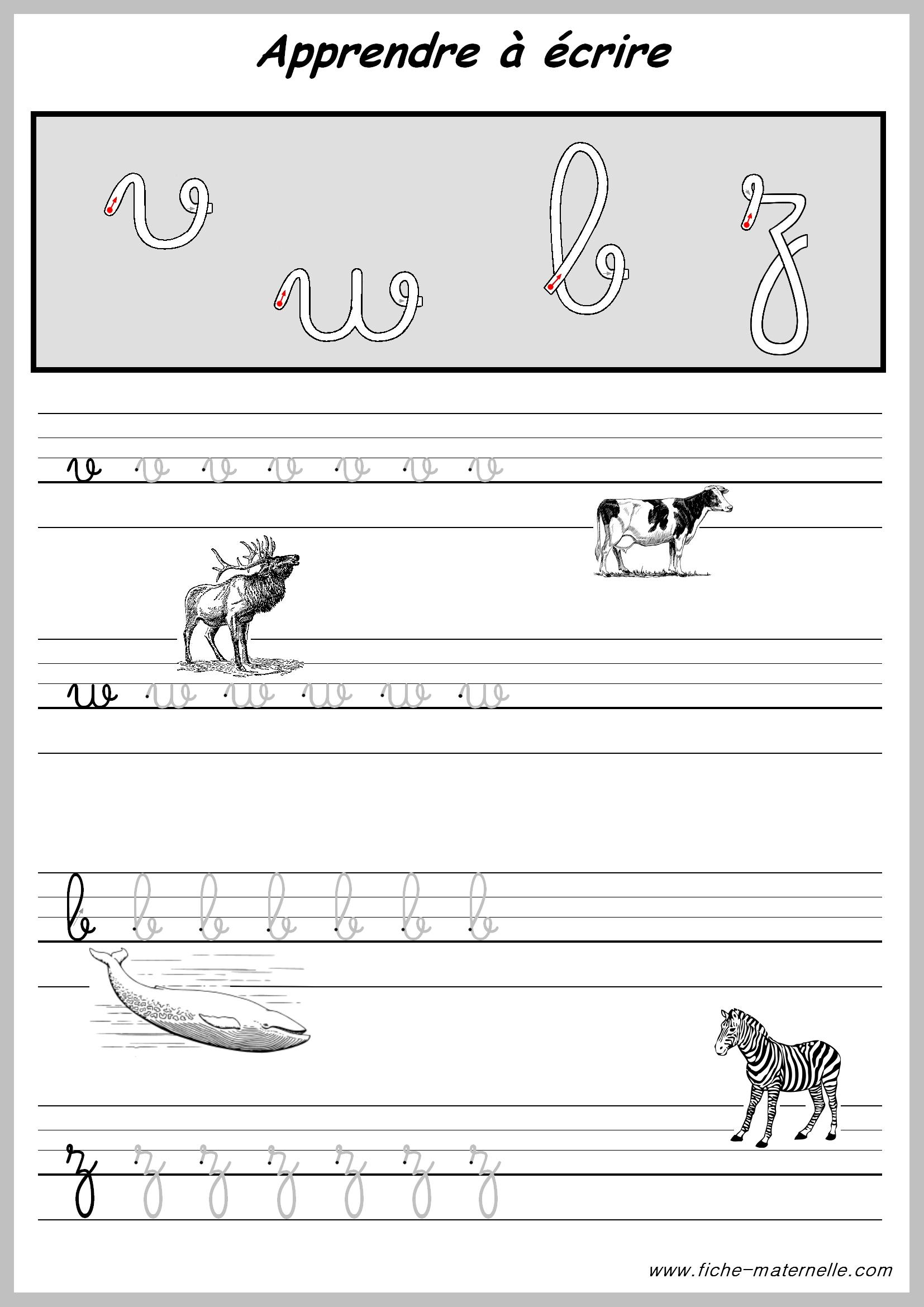 Exercices Pratiques Pour Apprendre A Ecrire. tout Exercice D Alphabet En Maternelle
