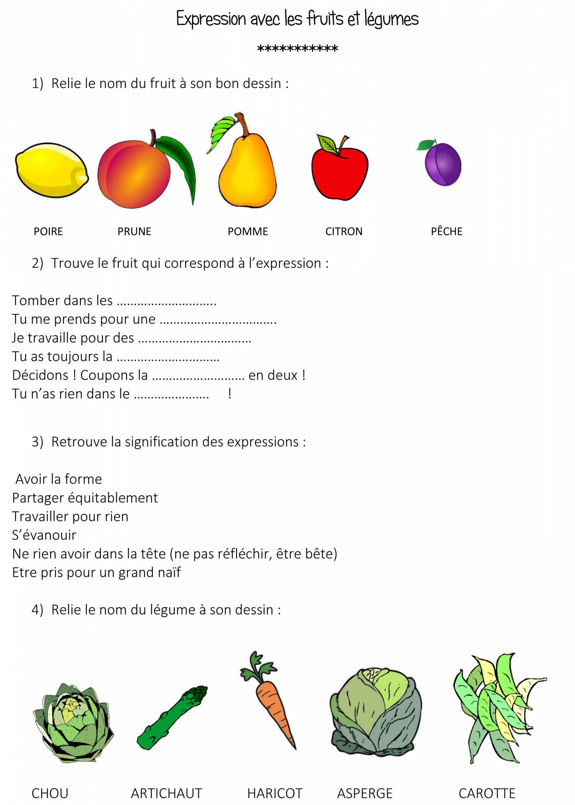 Expressions Utilisant Les Fruits Et Légumes avec Nom Legume