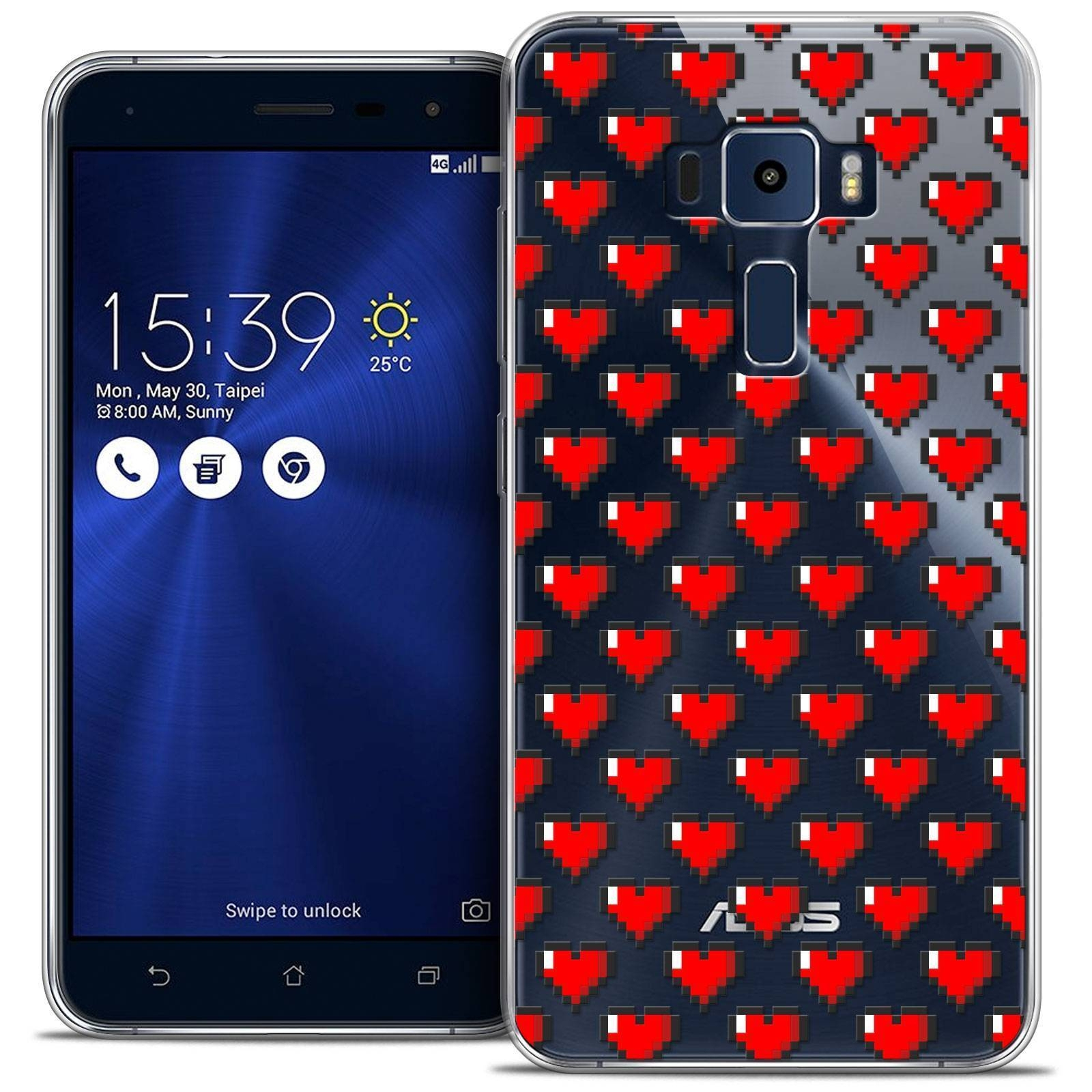 "Extra Slim Crystal Gel Asus Zenfone 3 Ze520Kl (5.2"") Case Love Pixel Art destiné Pixel Art Flamant Rose"