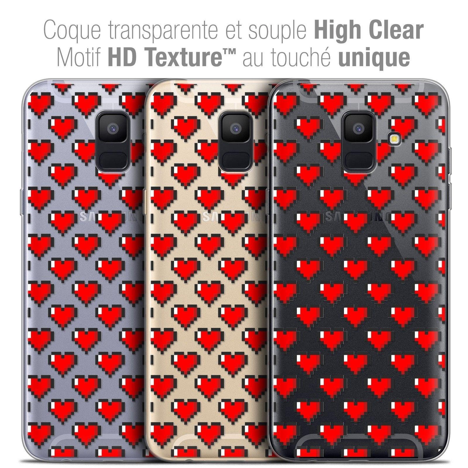 "Extra Slim Crystal Gel Samsung Galaxy A6 2018 (5.45"") Case Love Pixel Art concernant Pixel Art Flamant Rose"
