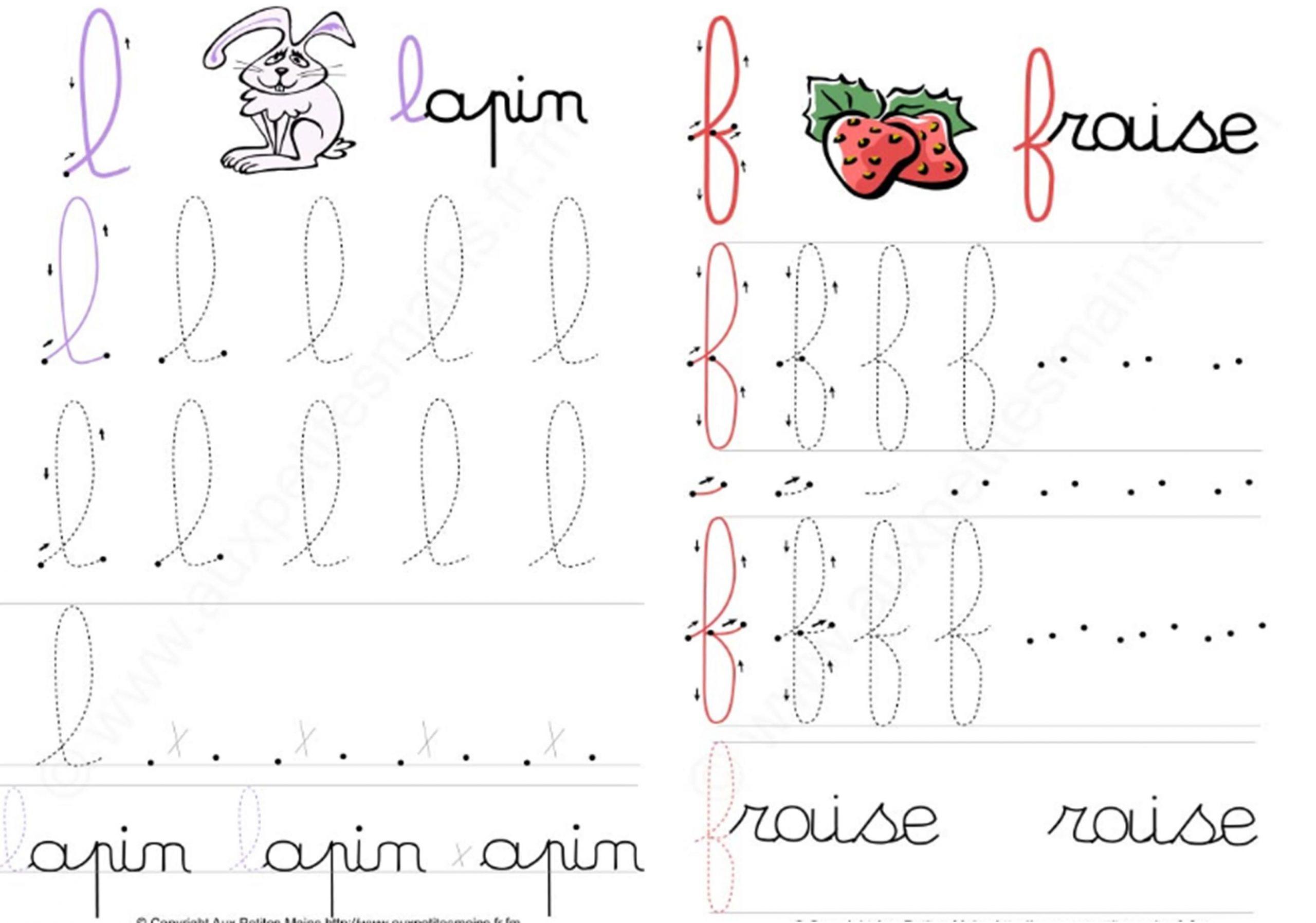 F Et L Petites Mains   Écrire En Cursive, Grande Section tout Écriture En Moyenne Section