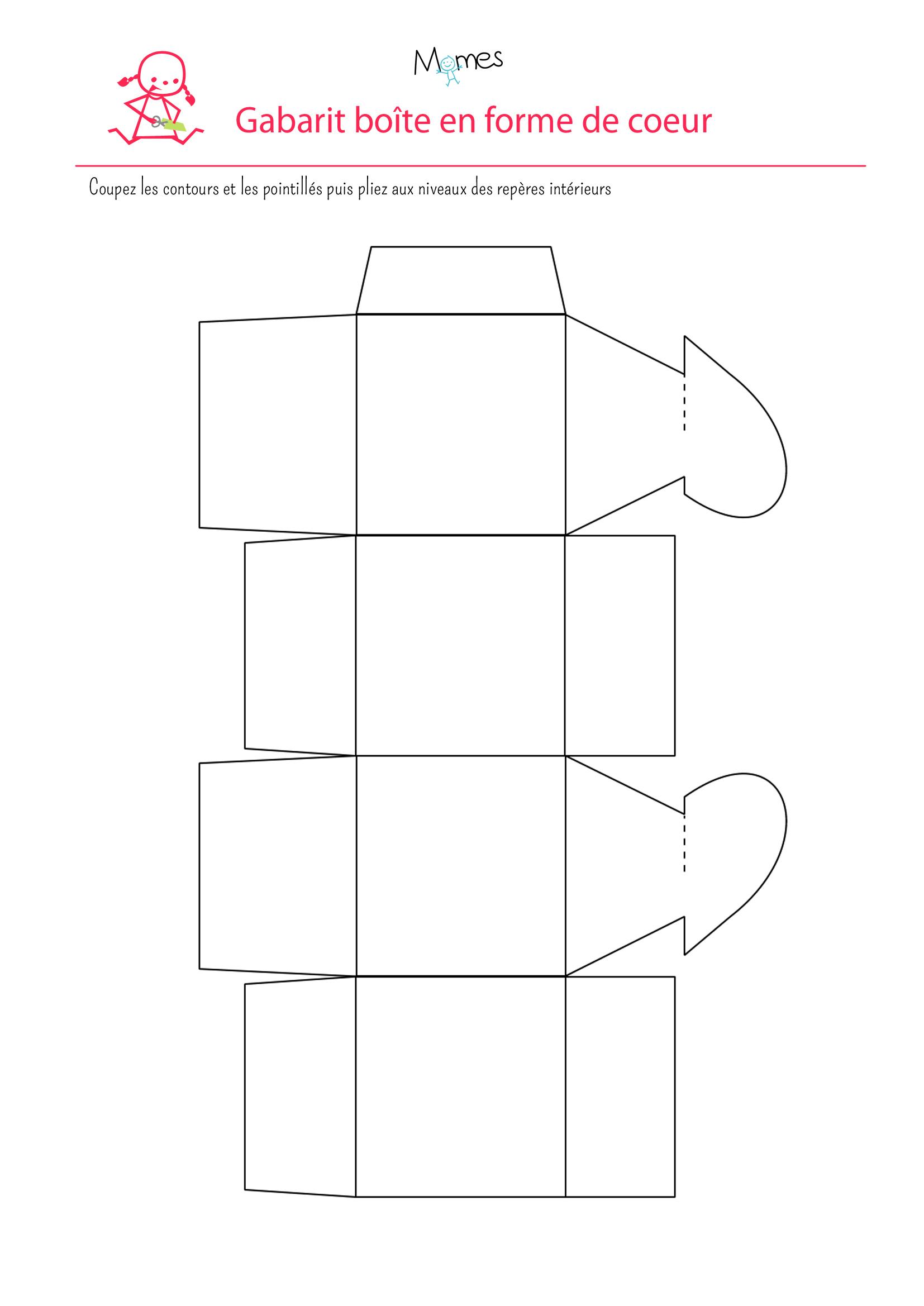 Fabriquer Un Boîte Cadeau En Forme De Coeur - Momes encequiconcerne Gabarit Boite En Papier