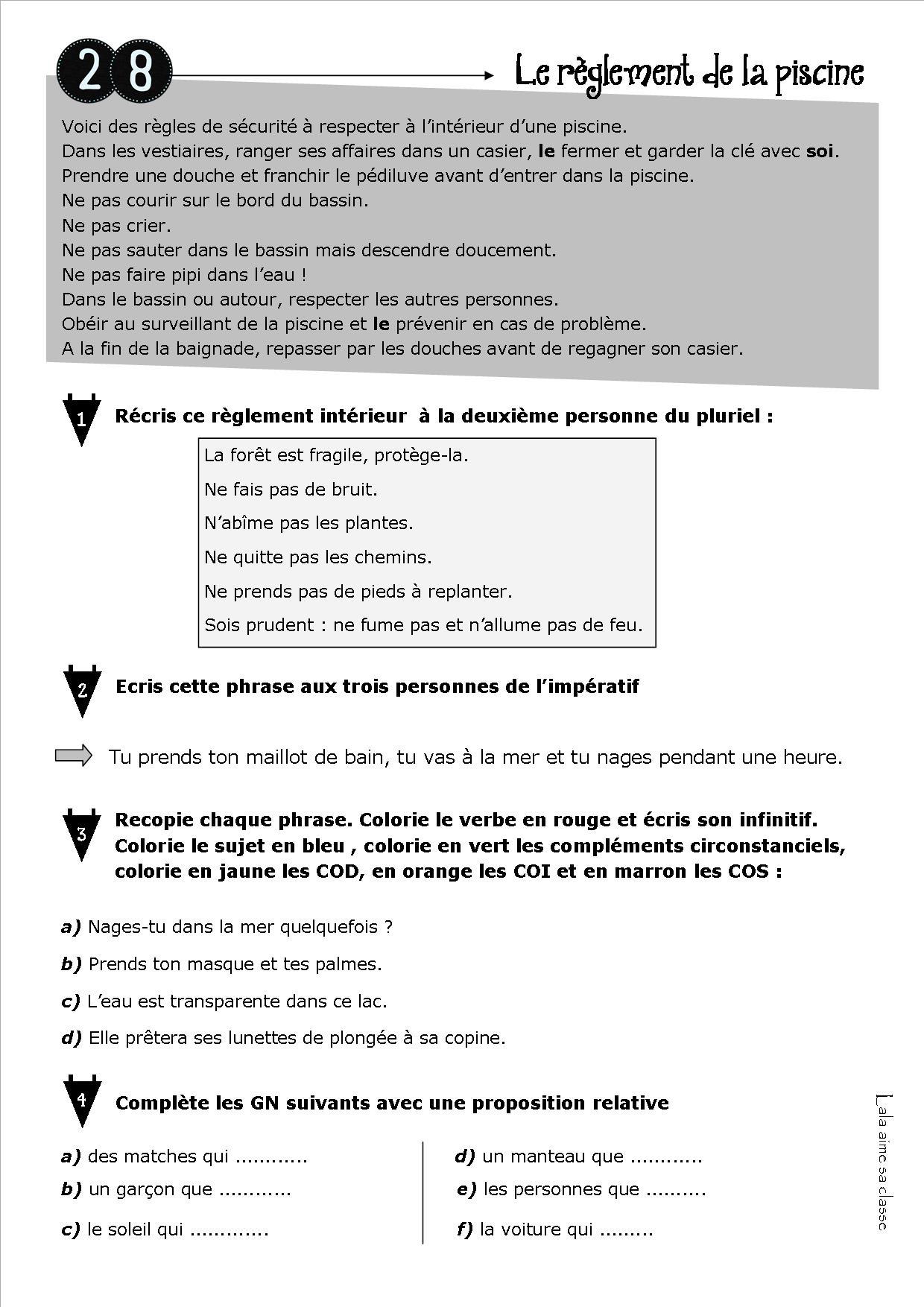 Faire De La Grammaire Au Cm1 – Lala Aime Sa Classe encequiconcerne Exercice Cm1 Conjugaison À Imprimer