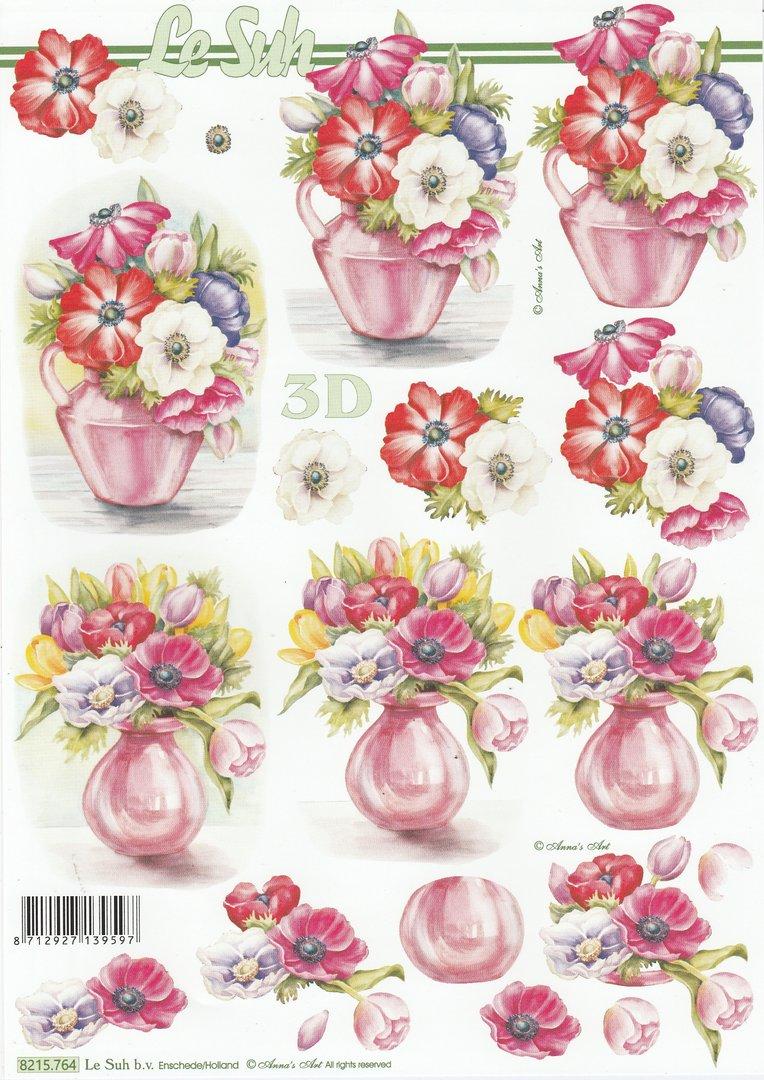 Feuille 3D À Découper A4 - 8215.764 Vase Anémones Fleurs destiné Fleurs À Découper