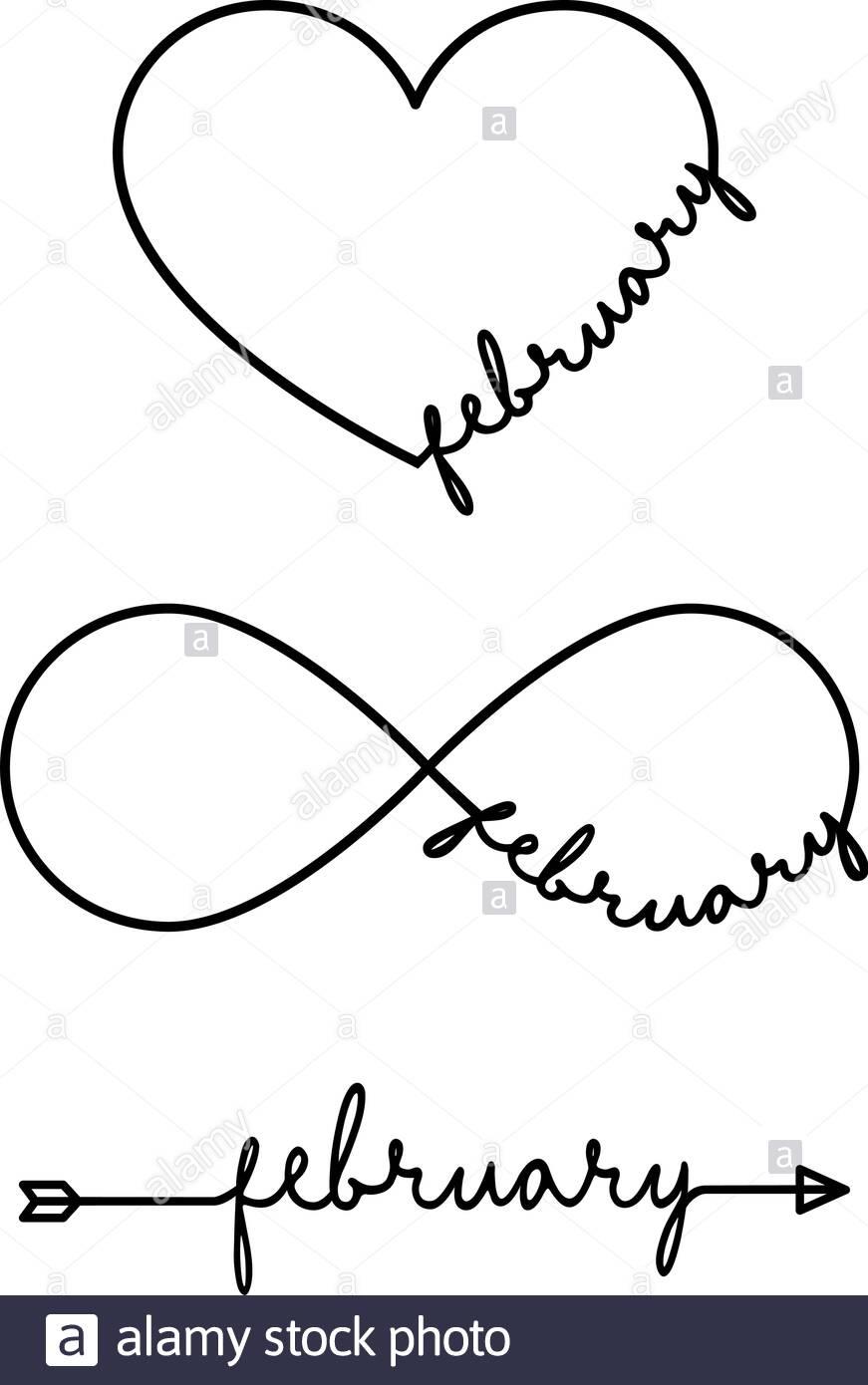 Février - Mot Avec Symbole De L'infini, Dessinés À La Main intérieur Mot Fleché En Ligne