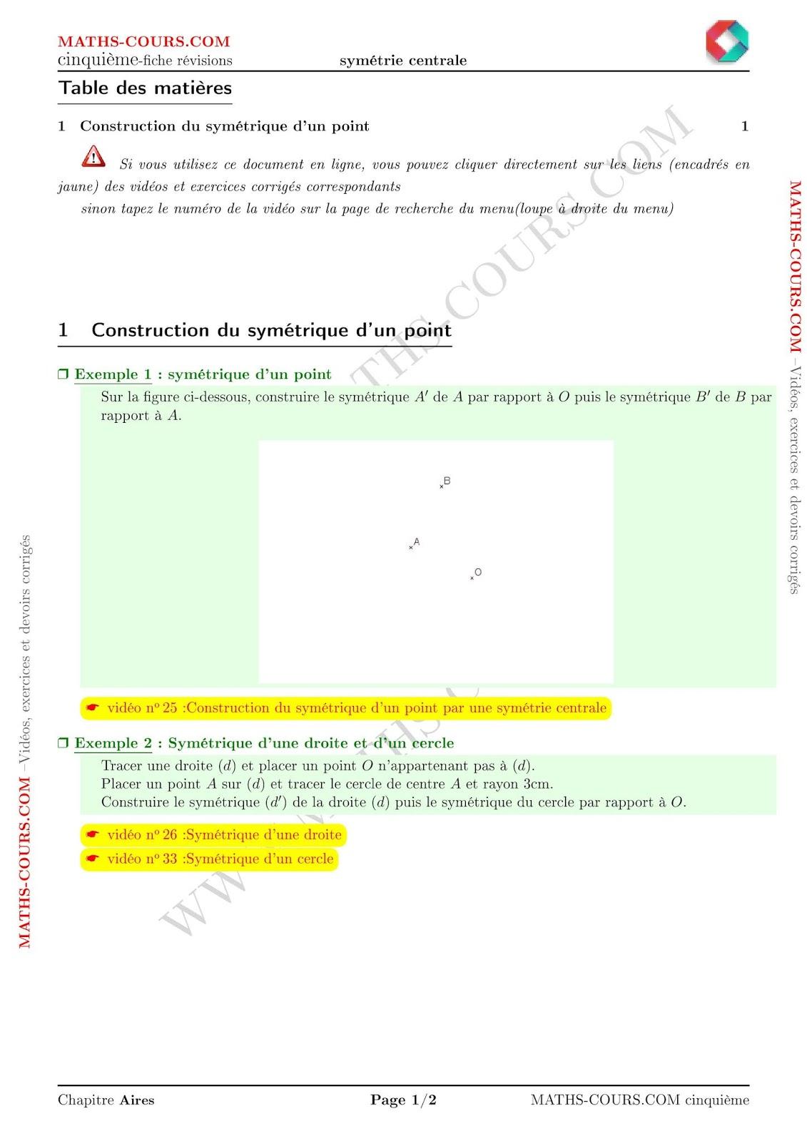 Fiche Révision Contrôle Symétrie Centrale (Cinquième à Symétrie En Ligne