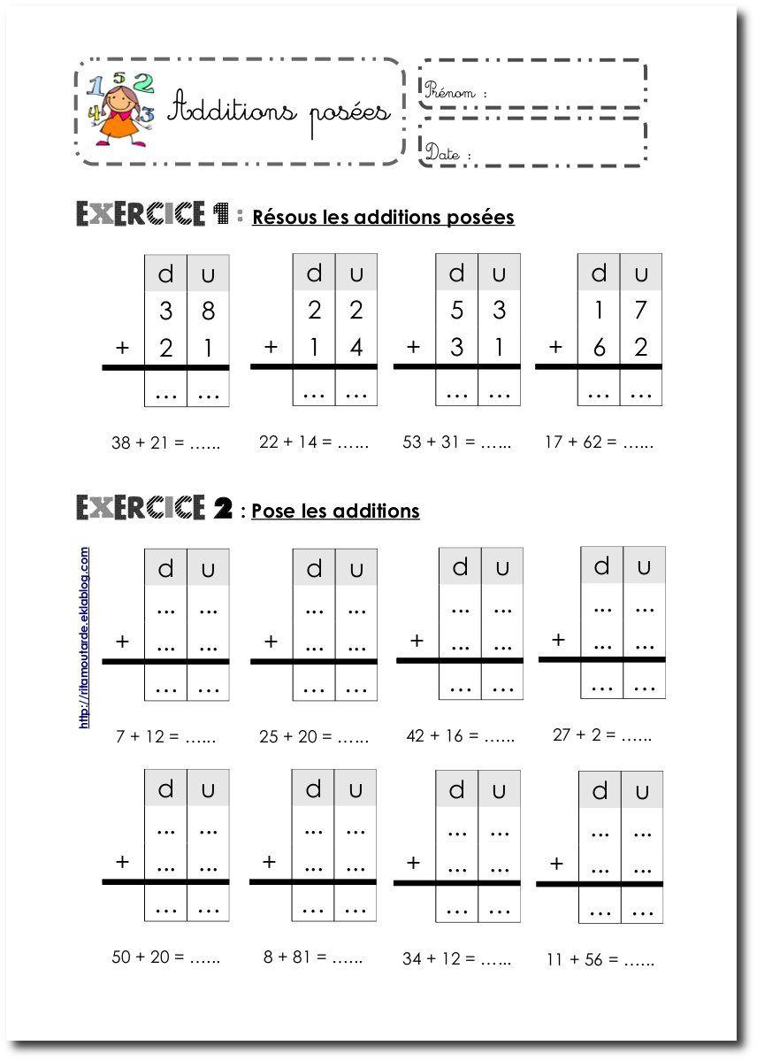 Fiches Additions Posées Sans Retenue | Exercice Ce1 serapportantà Exercices Maths Ce2 À Imprimer