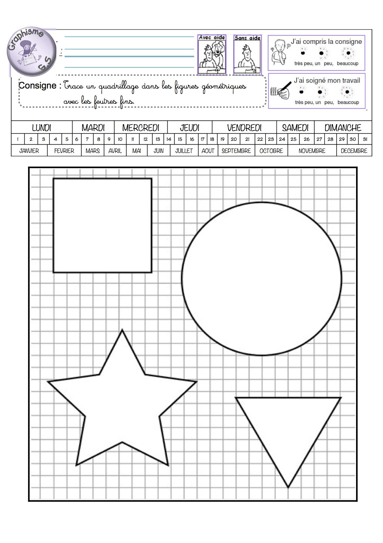 Fiches De Graphisme Gs Période 1 Et 2 - La Classe De Luccia ! destiné Exercice Graphisme Moyenne Section