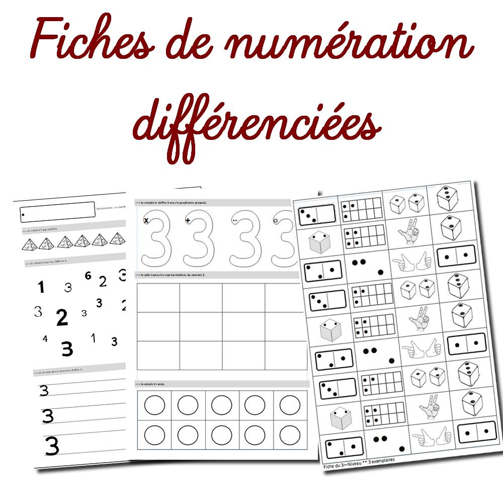 Fiches De Numération Différenciées Cycle 1 pour Les Maternelles Fiches