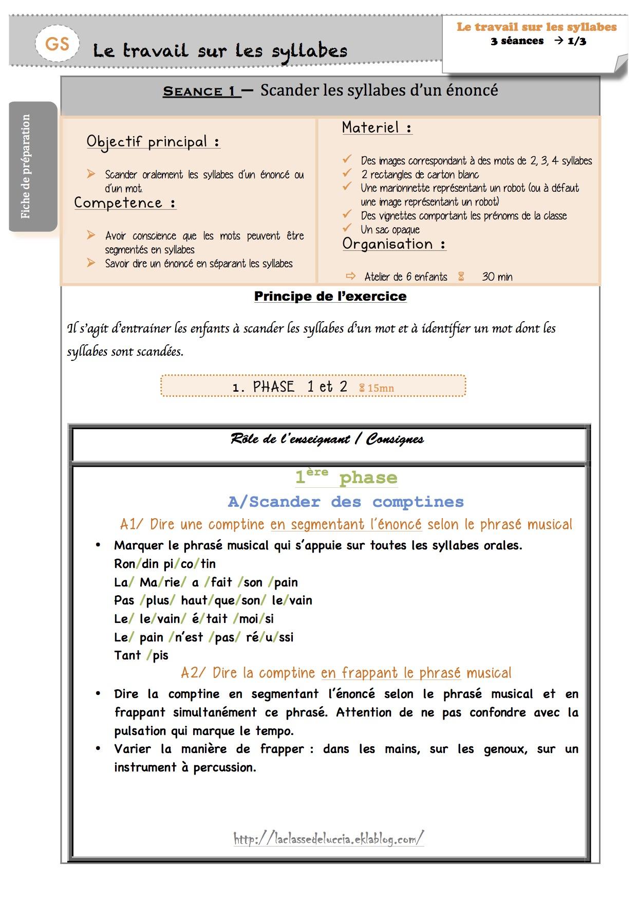 Fiches De Préparation Sur Les Syllabes - La Classe De Luccia ! concernant Les Maternelles Fiches
