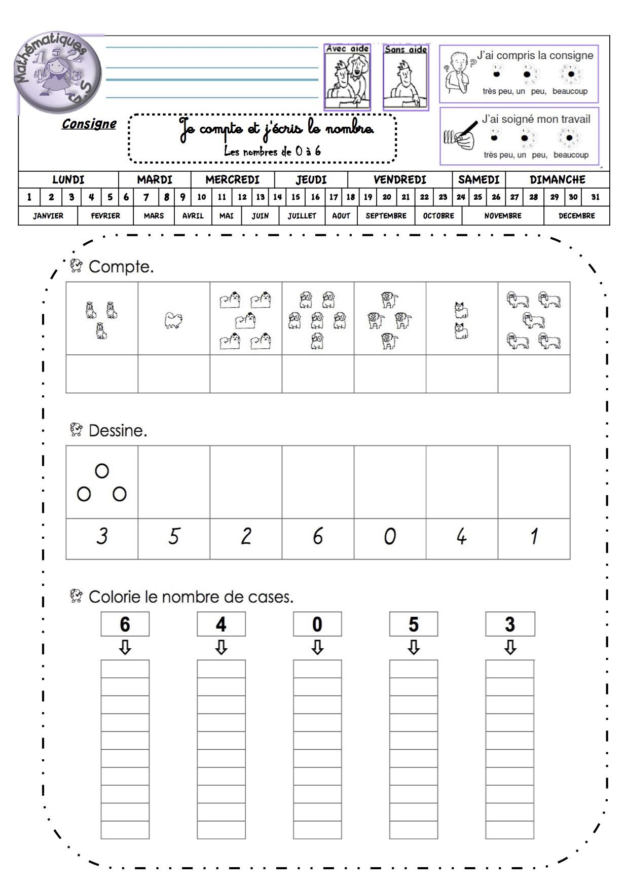 Fiches De Travail Gs Numeration (Période 2) - La Classe De concernant Fiche De Travail Gs
