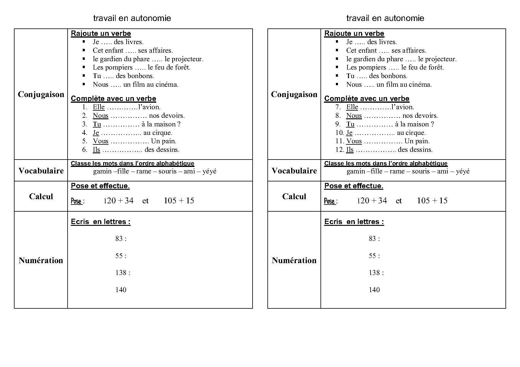 Fiches Et Travail En Autonomie Ce1,ce2 En Français Et Maths avec Fiche De Français Ce2