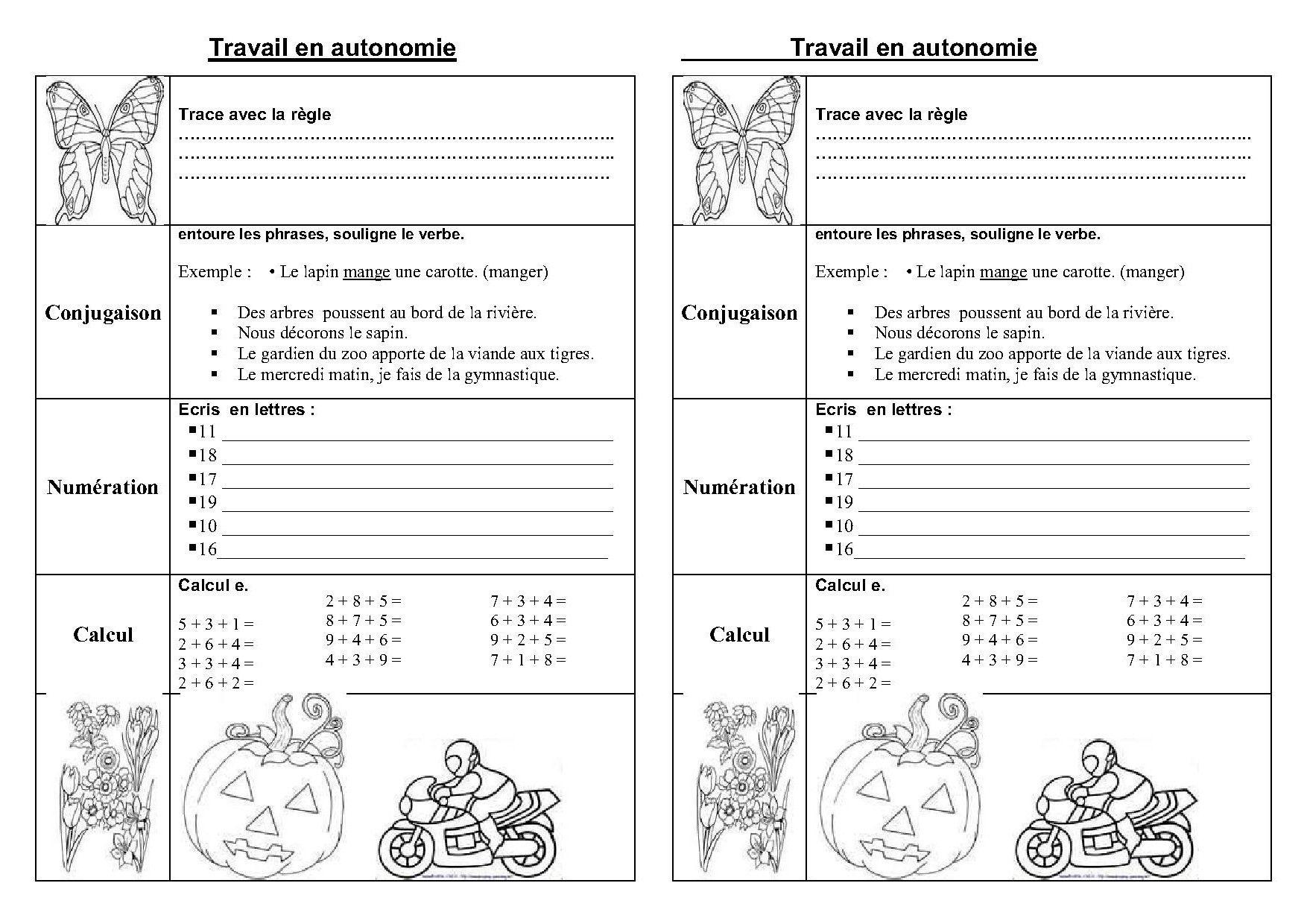 Fiches Et Travail En Autonomie Ce1,ce2 En Français Et Maths pour Fiche De Français Ce2
