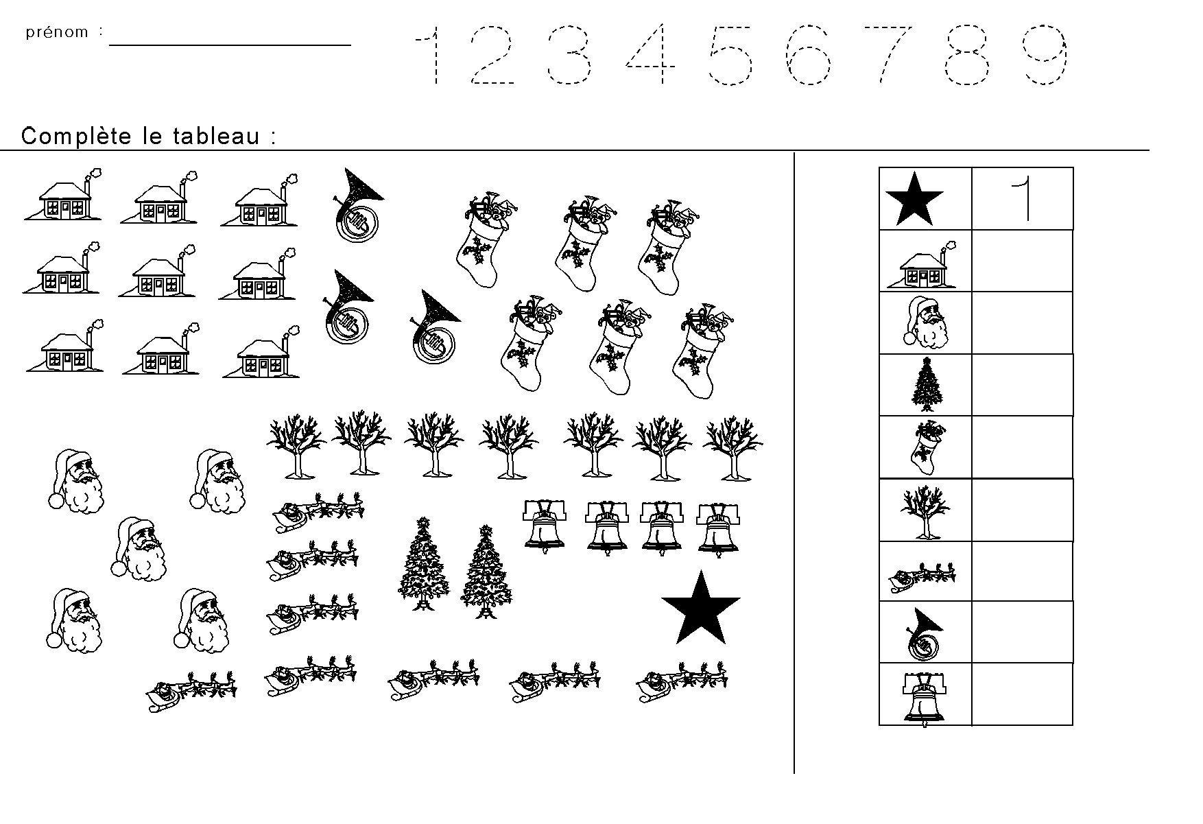 Fiches Maternelles : Compter Les Figures De Noël Et Inscrire intérieur Noel Maternelle Grande Section