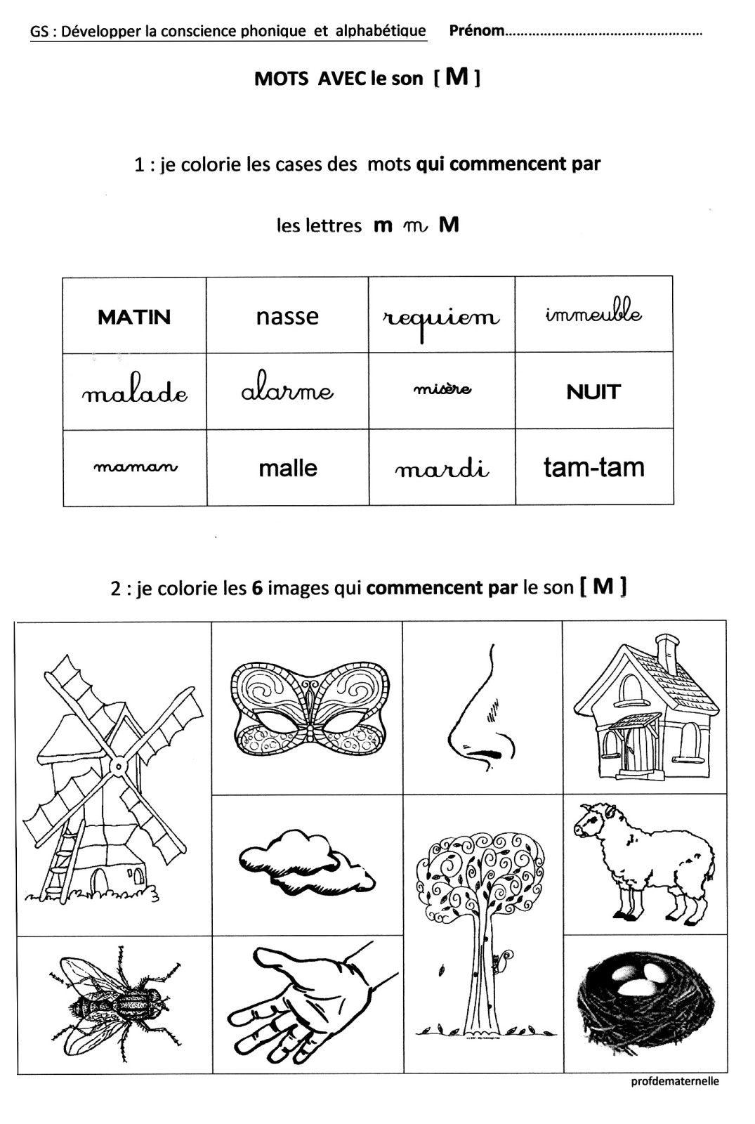 Fichier : Sons Et Lettres En Maternelle - Profdematernelle dedans Exercice Gs Maternelle