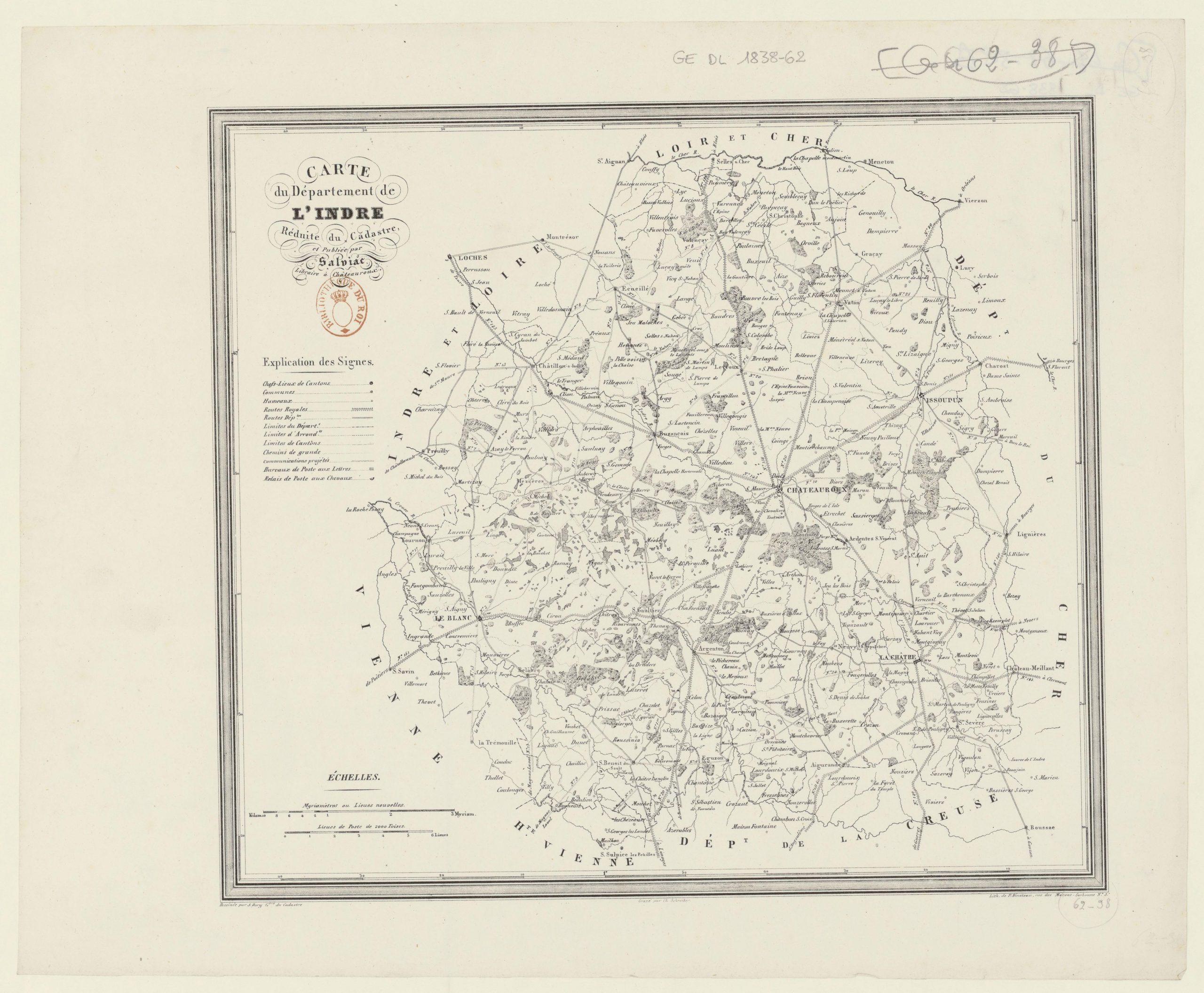 Fichier:carte Du Département De L'indre - 1838 — Wikipédia encequiconcerne Département 09 Carte