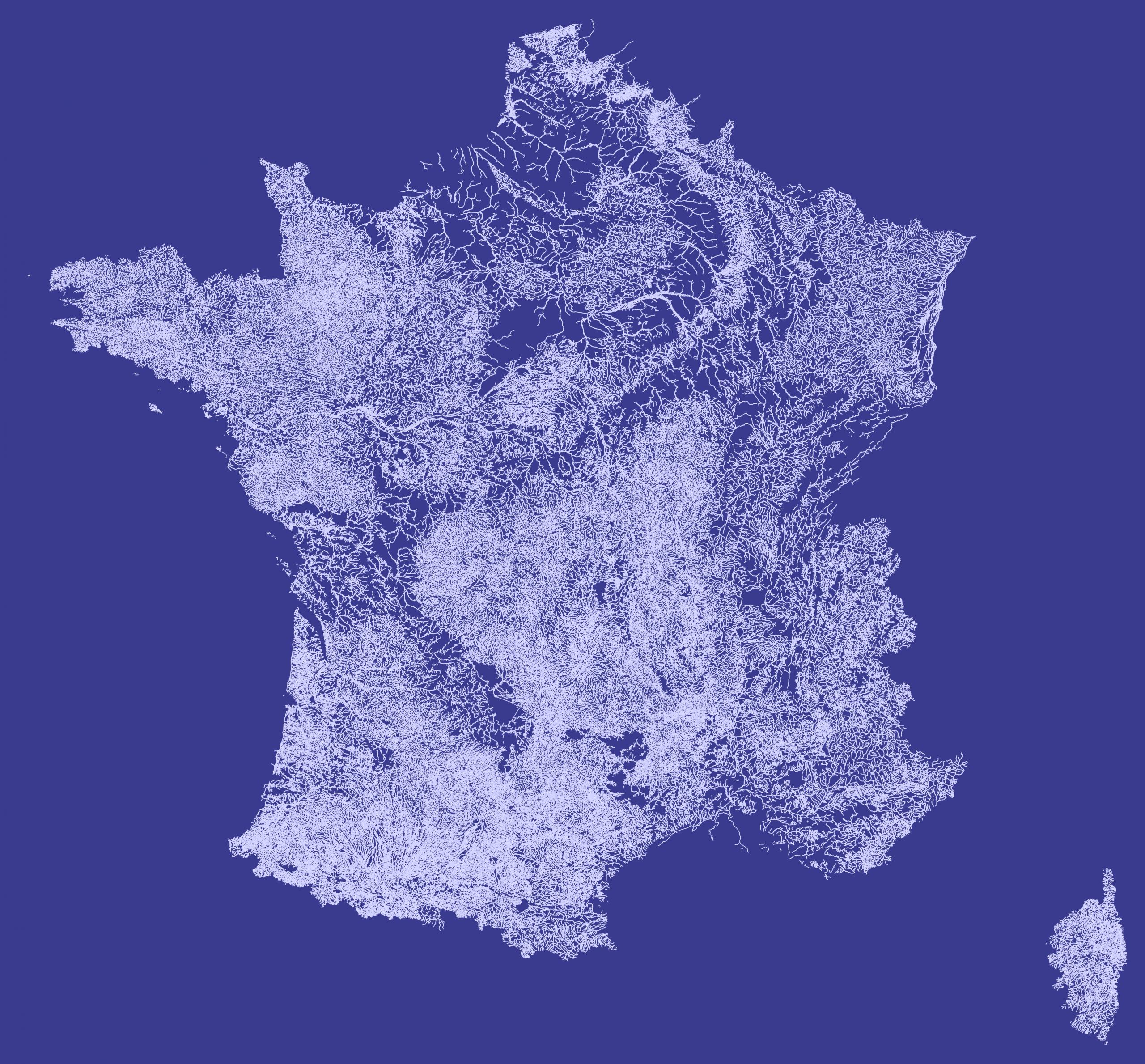 Fichier:carte France Hydrographie Cours D'eau Fond Bleu à Fond De Carte France Fleuves