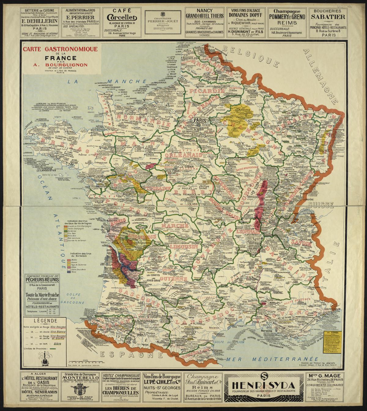 File:bourguignon - Carte Gastronomique De La France 1929 tout Grande Carte De France