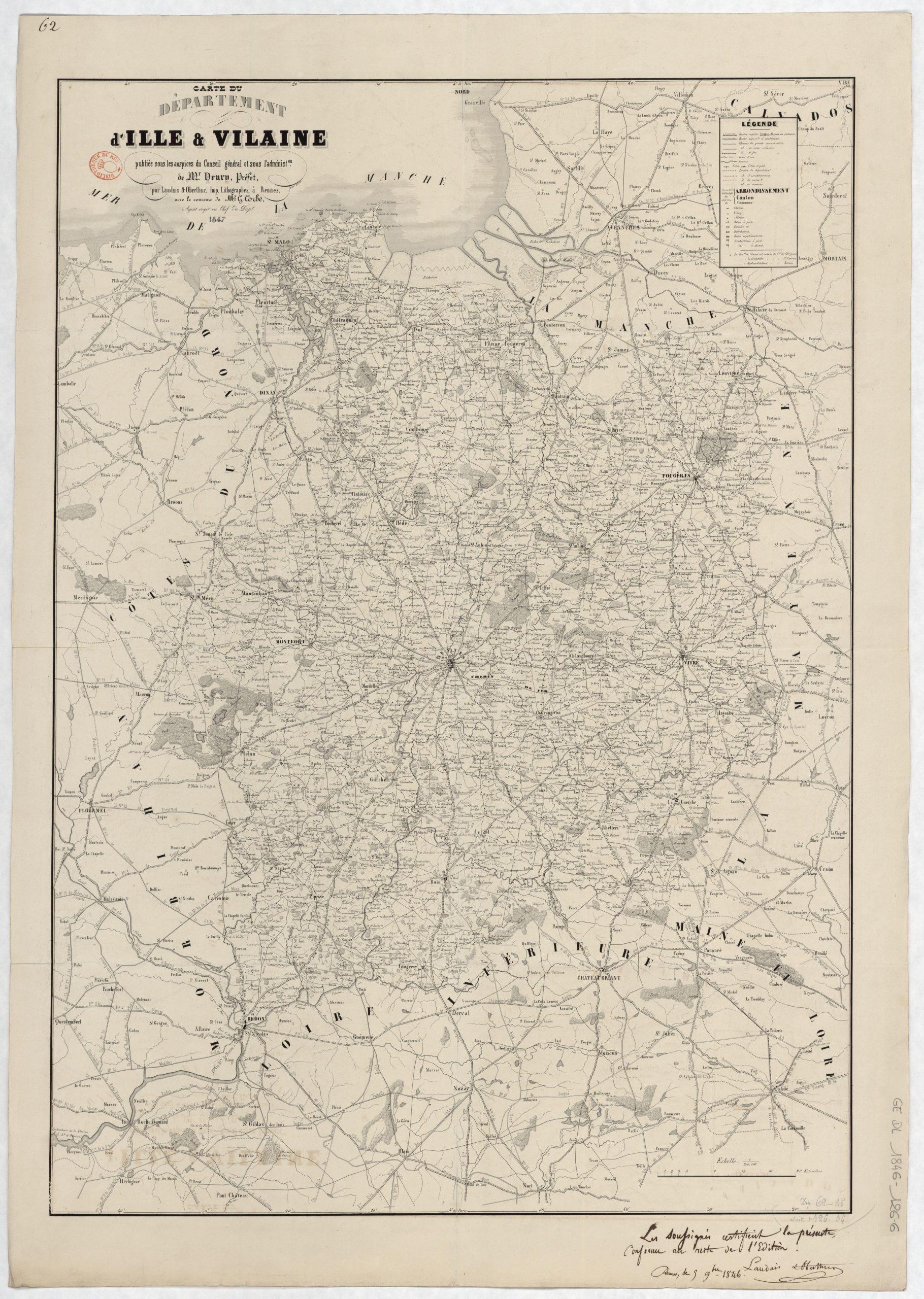 File:carte Du Département D'ille-Et-Vilaine - 1847 encequiconcerne Département 09 Carte