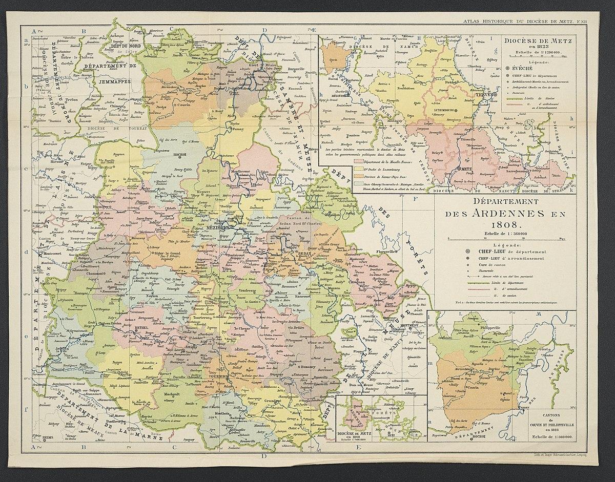 File:département Des Ardennes En 1808 - Wikimedia Commons destiné Departement Et Chef Lieu