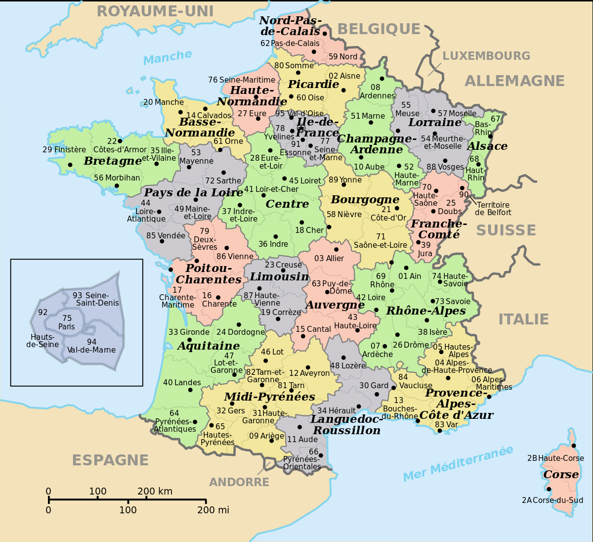 File:départements De France Nom+Num.svg - Wikimedia Commons pour Numero Des Departements Francais