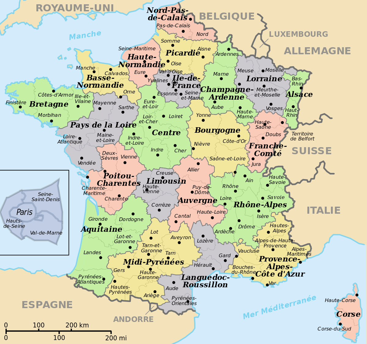 File:départements+Régions (France).svg - Wikimedia Commons avec Département De La France Carte