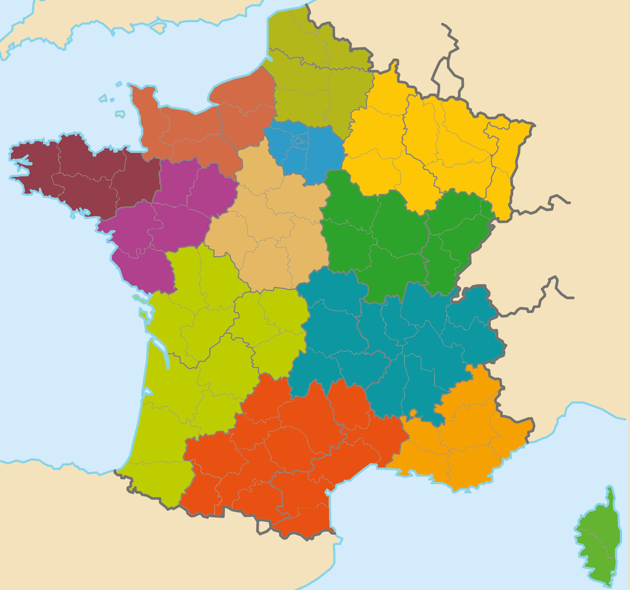 File:les Nouvelles Régions De La France Métropolitaine avec Les 22 Régions De France Métropolitaine