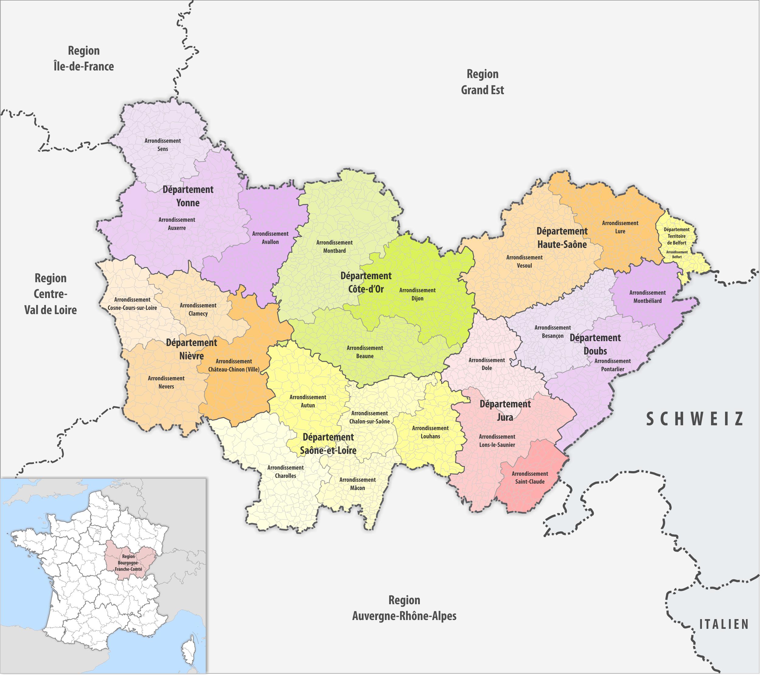 File:region Bourgogne-Franche-Comté Arrondissemente 2017 destiné Departement 22 Region