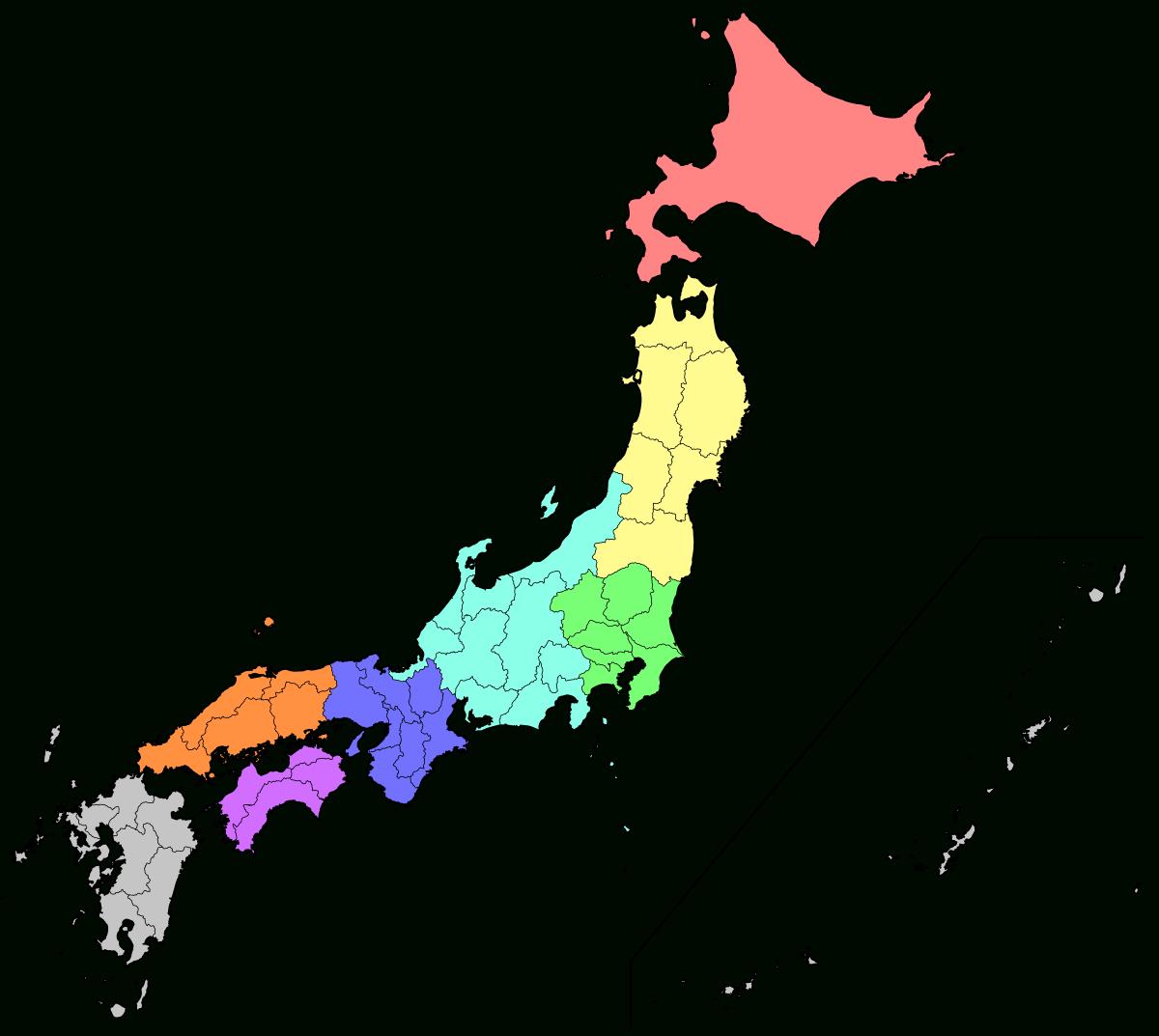 File:regions And Prefectures Of Japan No Labels.svg encequiconcerne Carte Des Préfectures