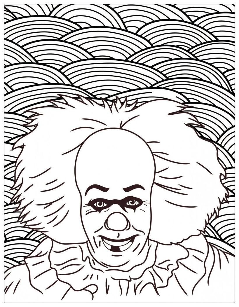 Film Horreur Ca Clown Pennywise - Halloween - Coloriages avec Coloriage Clown A Imprimer